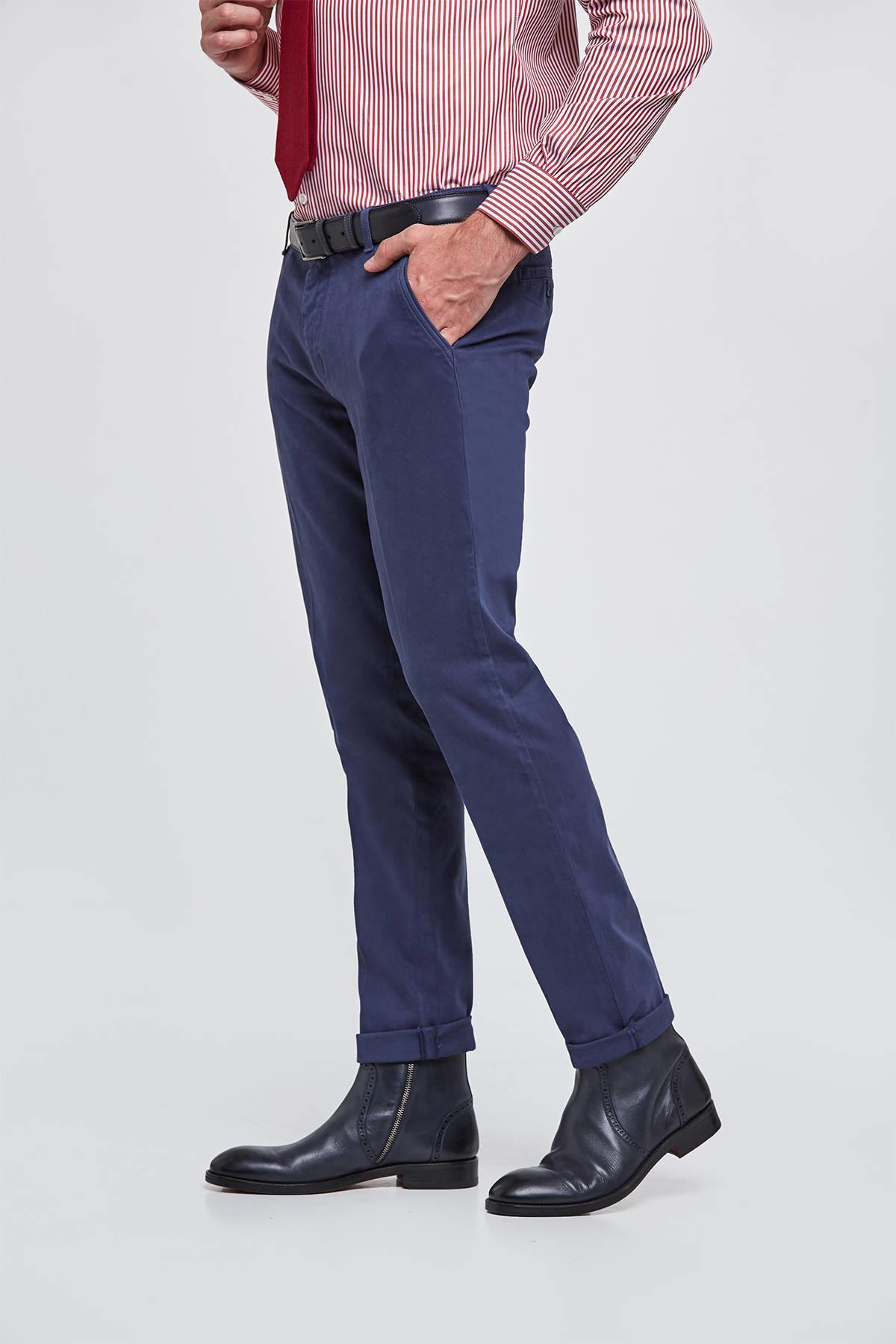Kadife Dokulu Koyu Mavi Chino Pantolon