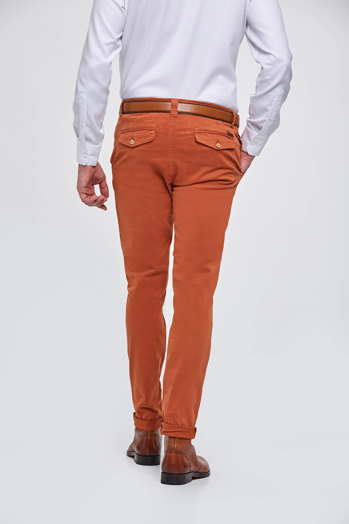 Kadife Dokulu Terracotta Chino Pantolon