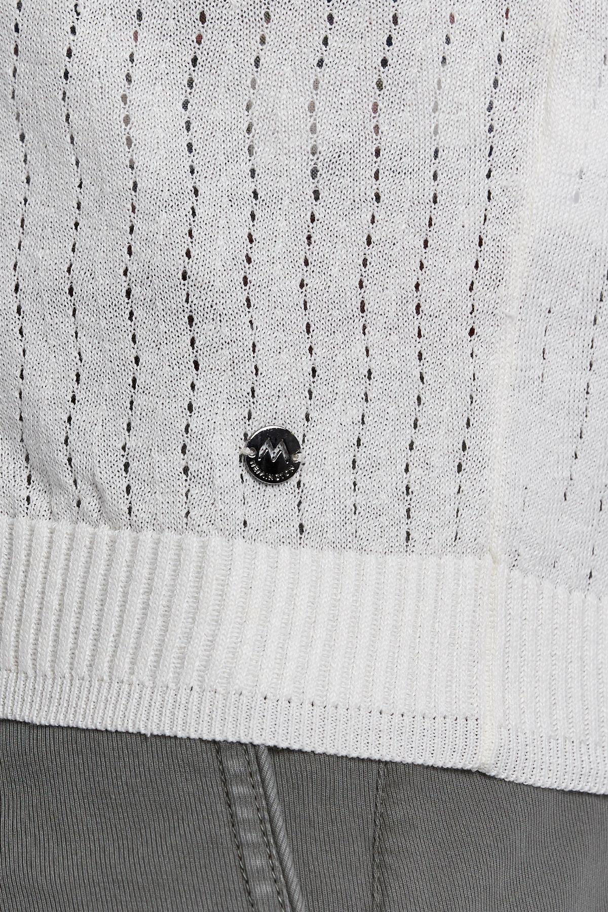 Kaplan Armalı Kırık Beyaz Keten Pamuk Düğmeli Hırka