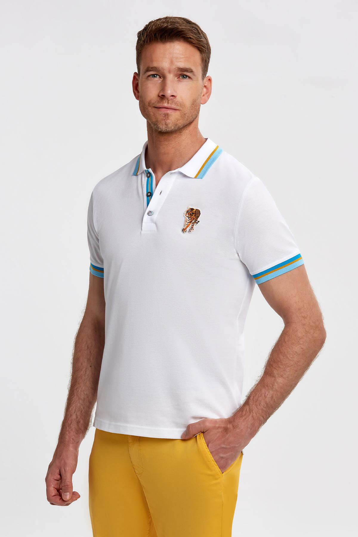 Kaplan Logolu Pike Pamuk Beyaz Polo T-Shirt