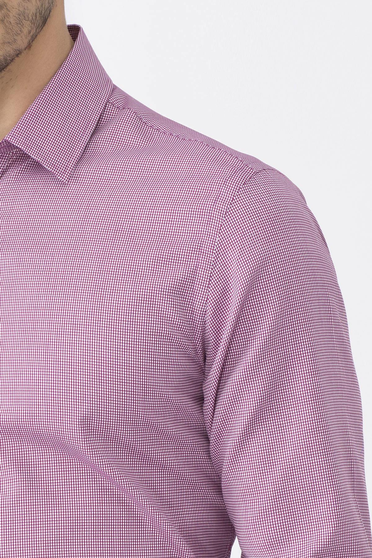 Kareli Bordo Business Gömlek