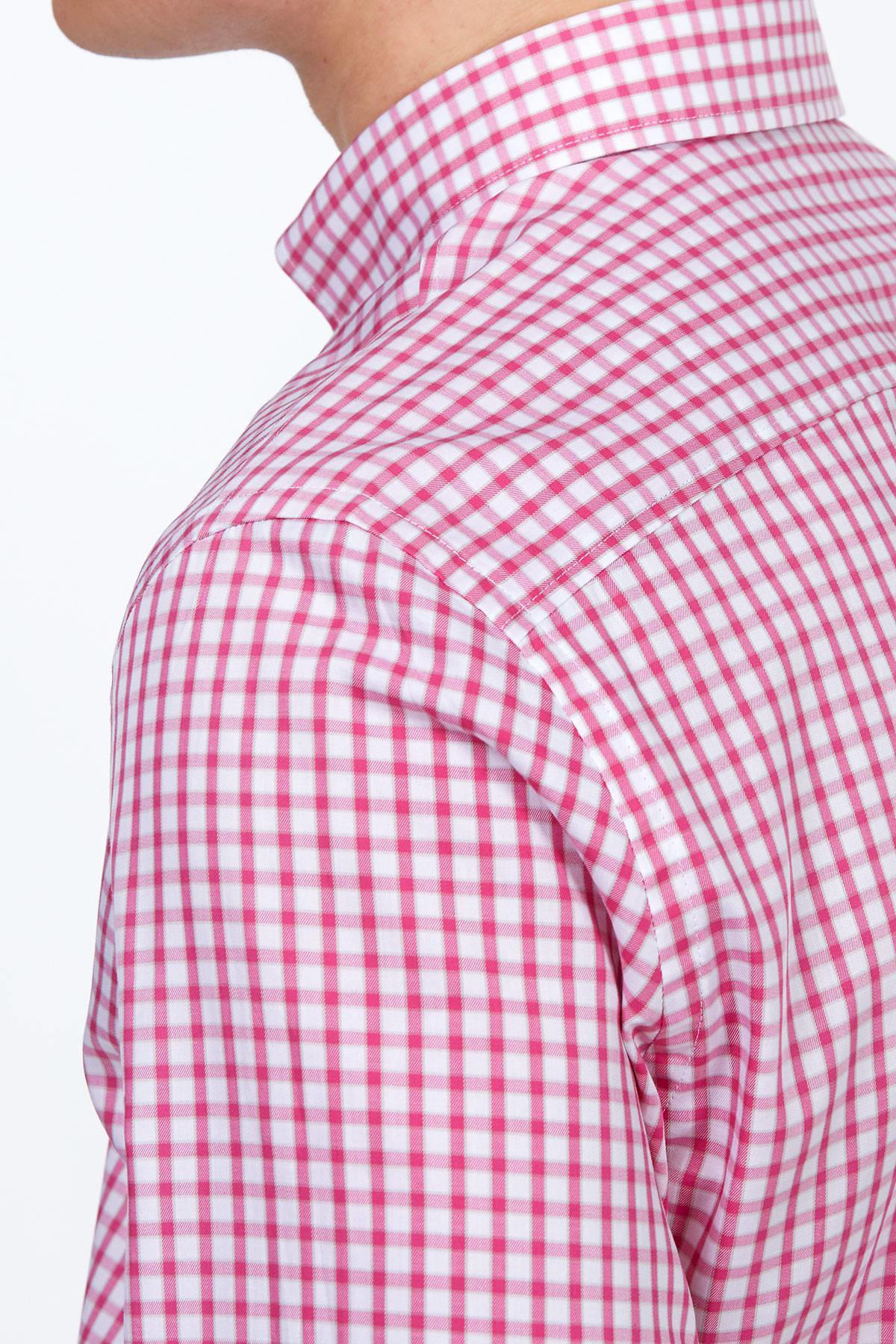Pembe Kareli Spor Gömlek