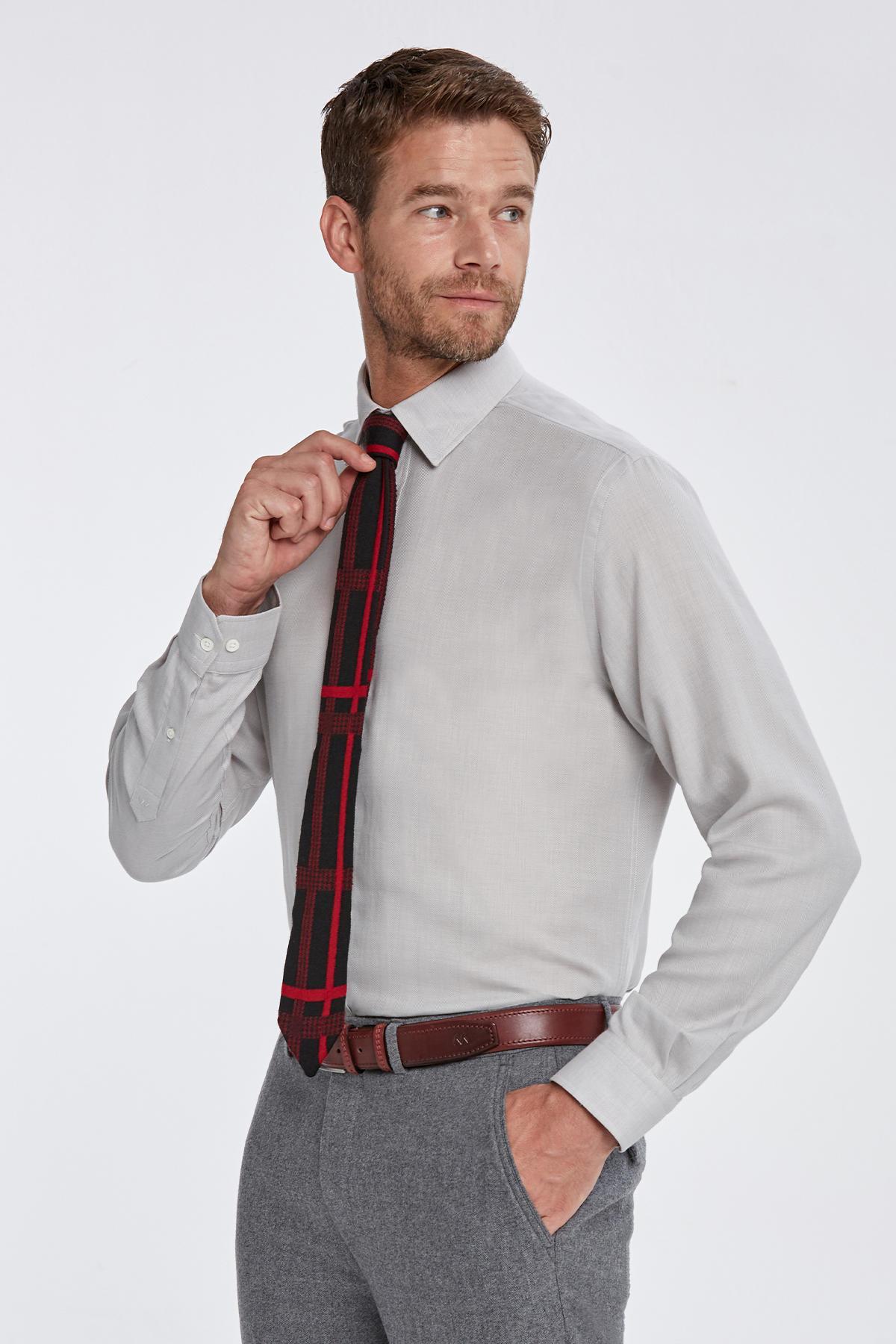 Kaşmirli Gizli Düğme Açık Gri Business Gömlek