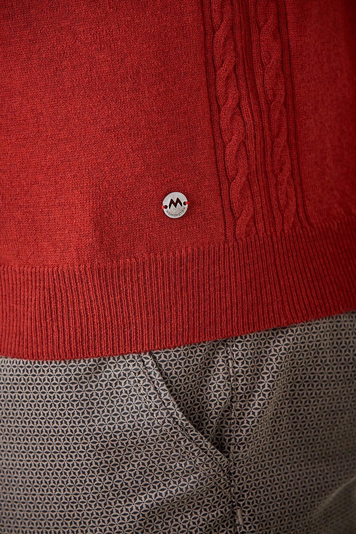 Kırmızı Lambswool Boğazlı Yün Kazak