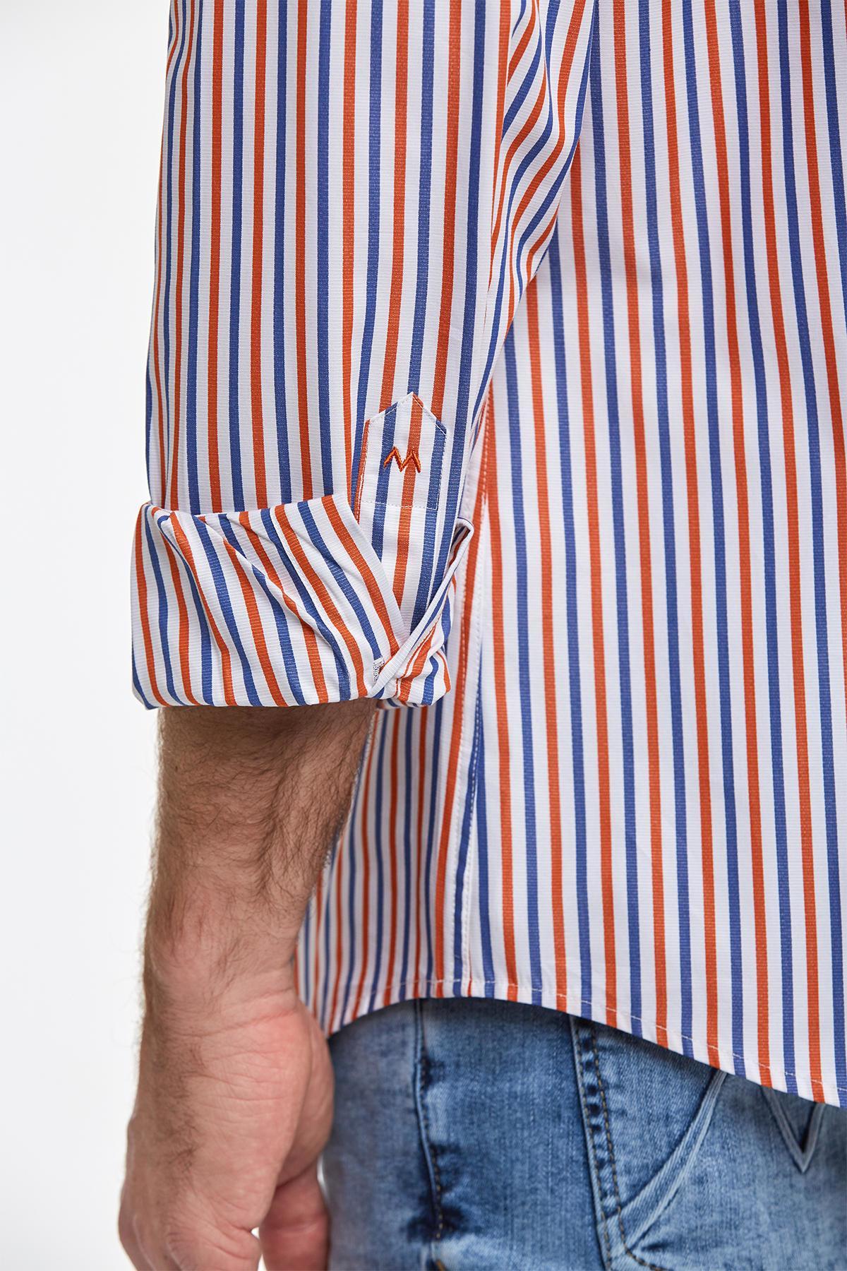 Kırmızı Mavi Çizgili Pamuk Spor Gömlek