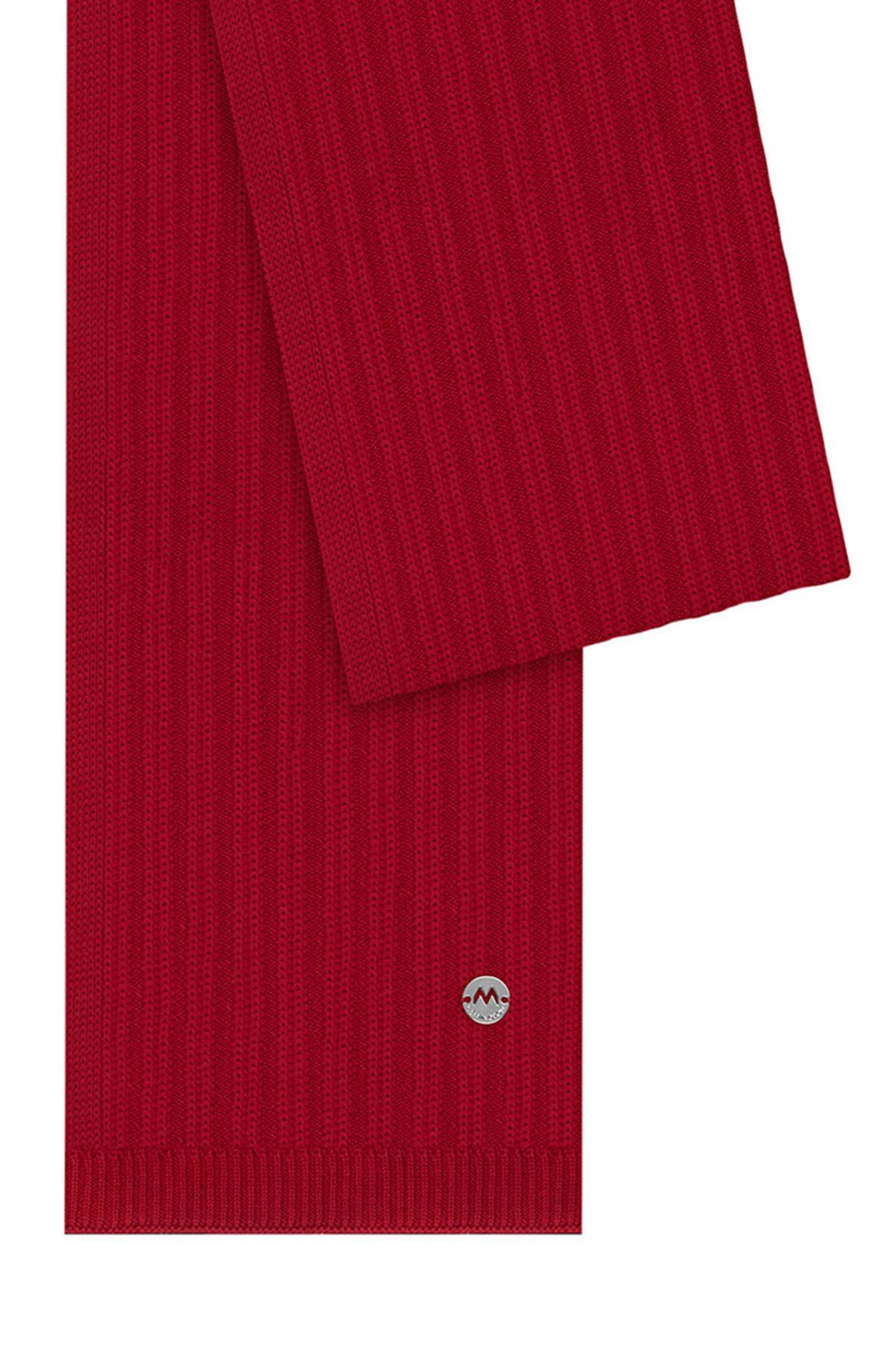 Kırmızı Merino Yün Atkı