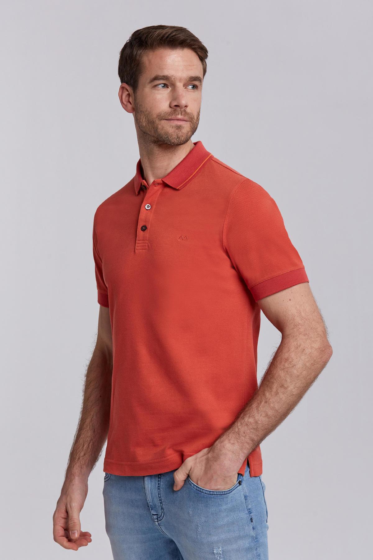 Pike Örgü Kırmızı Polo Yaka T-Shirt