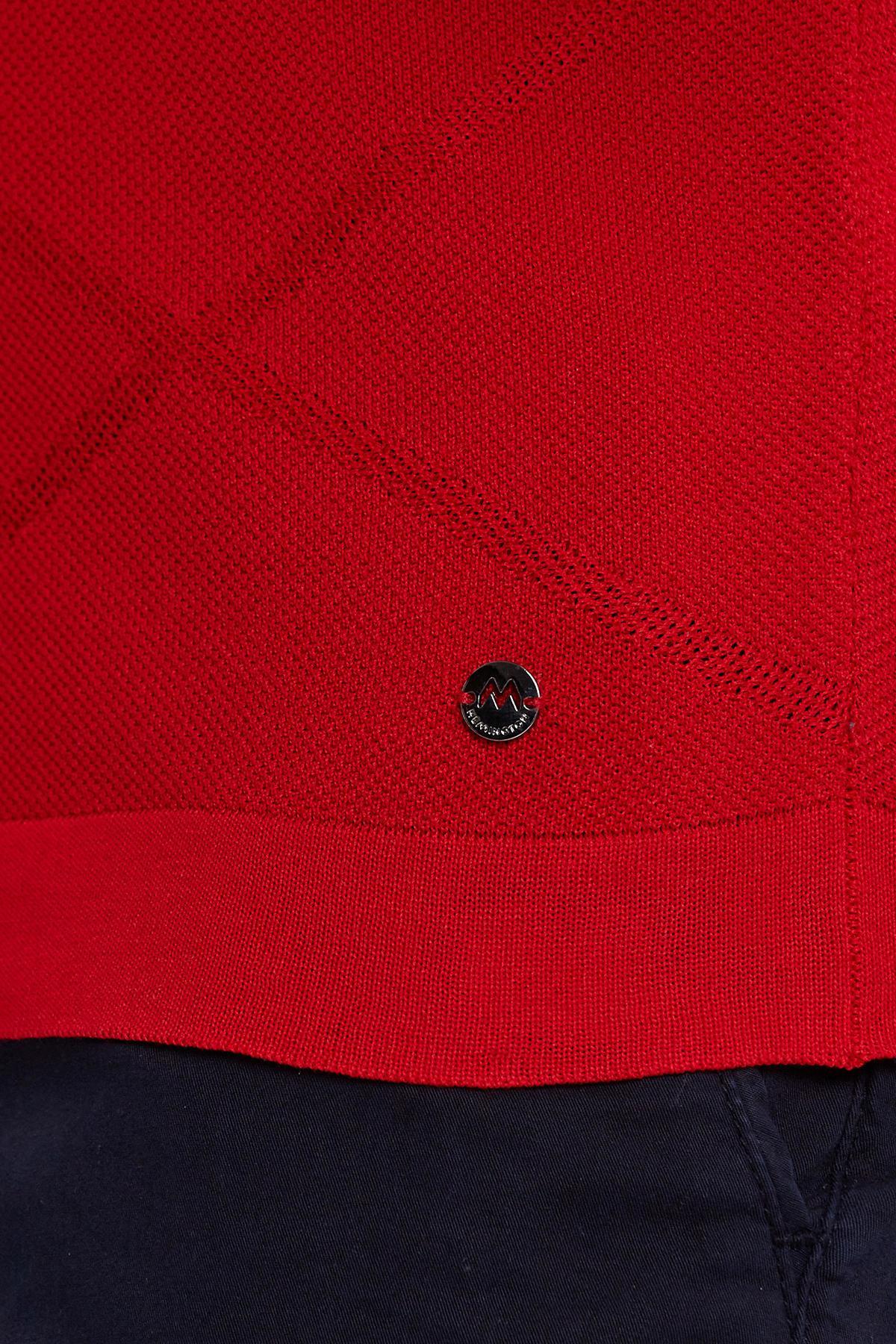 Kırmızı Pike Örgü Triko Polo
