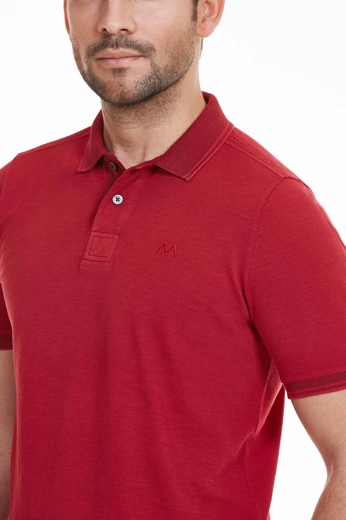 Kırmızı Polo Yaka Pamuk T-Shirt