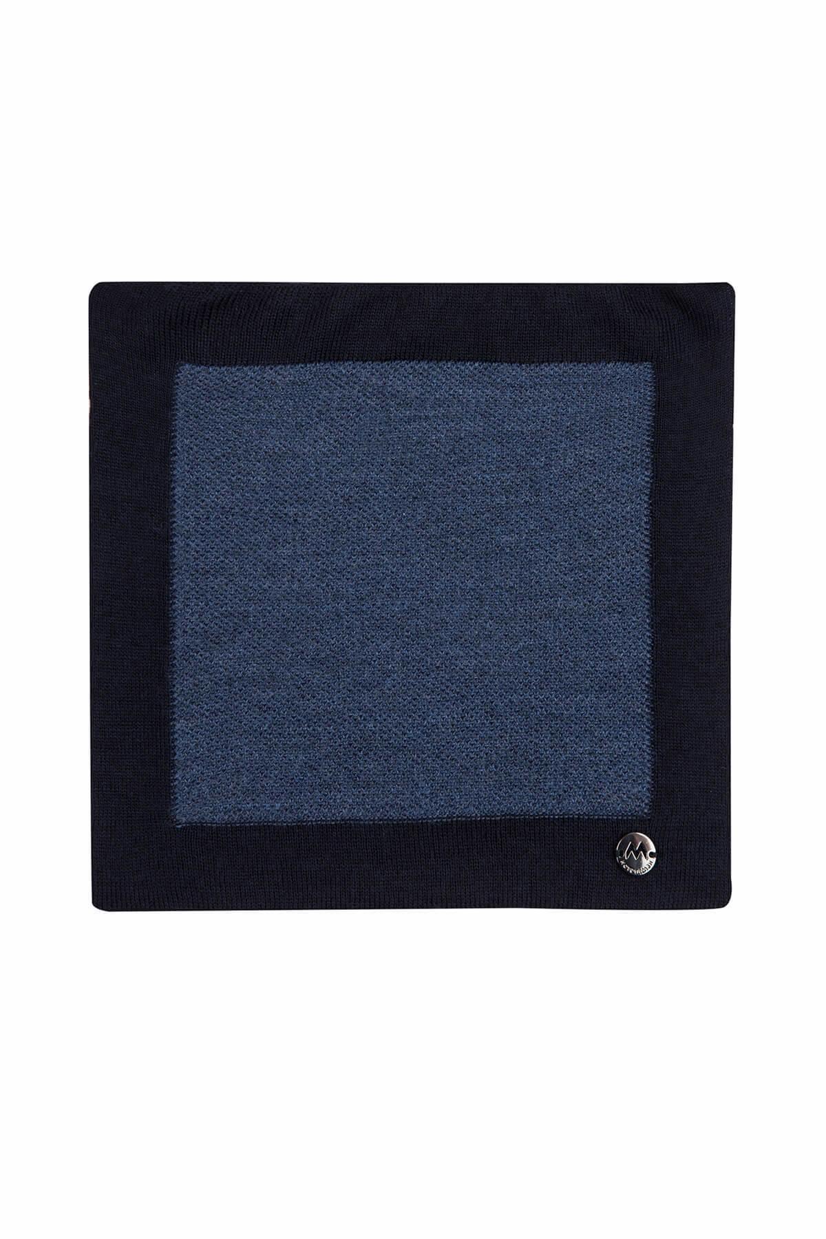 Koyu Mavi Örgü Ceket Mendili