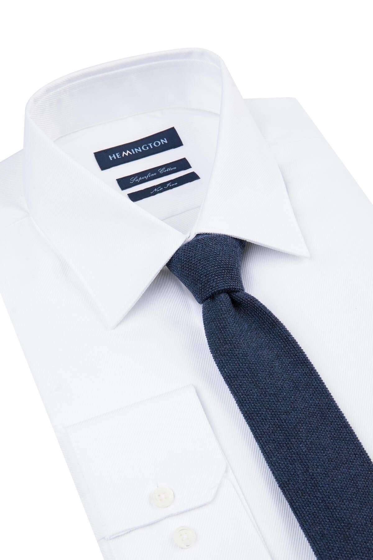 Koyu Mavi Örgü Kravat