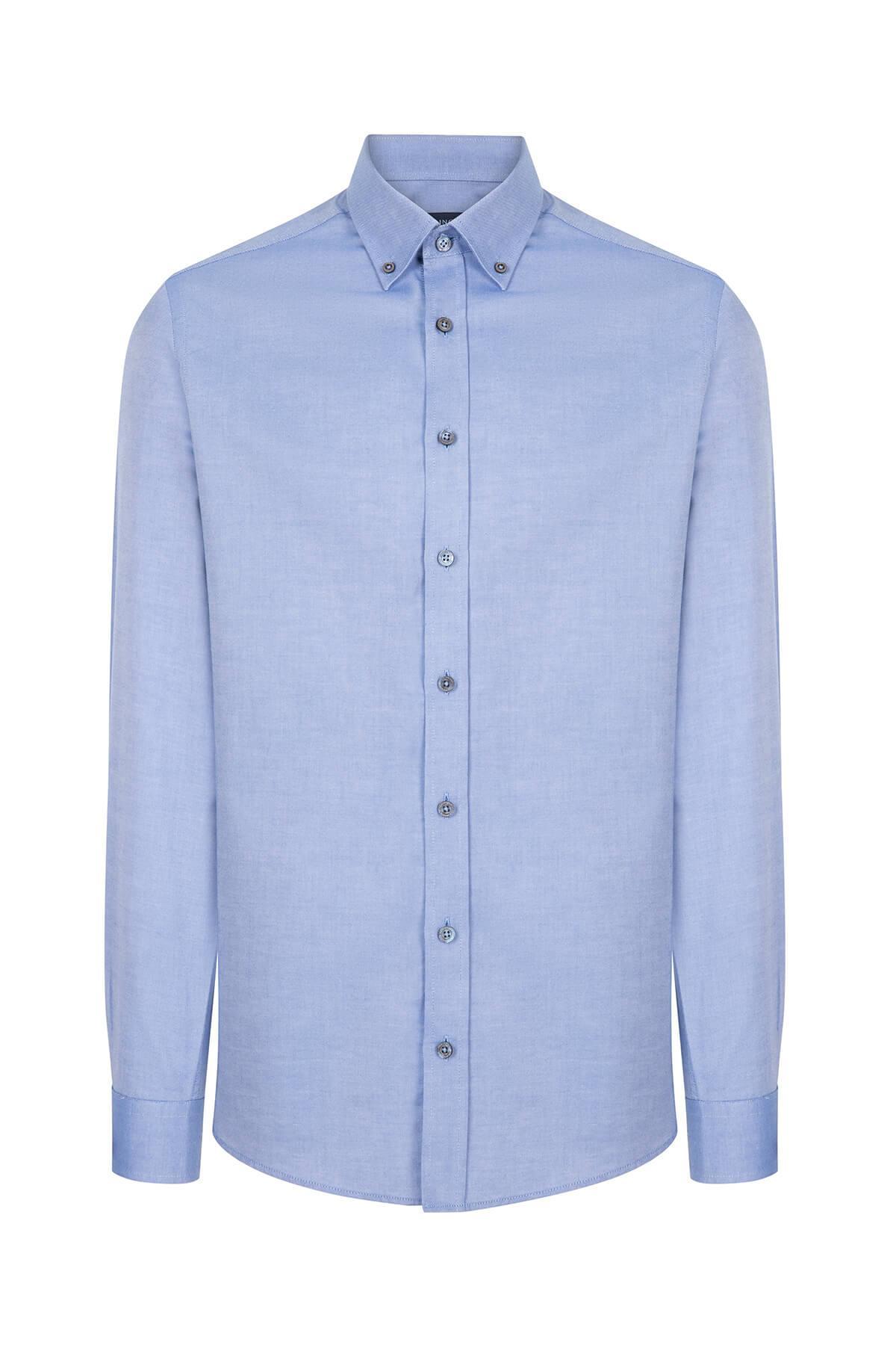 Koyu Mavi Düğmeli Yaka Oxford Spor Gömlek