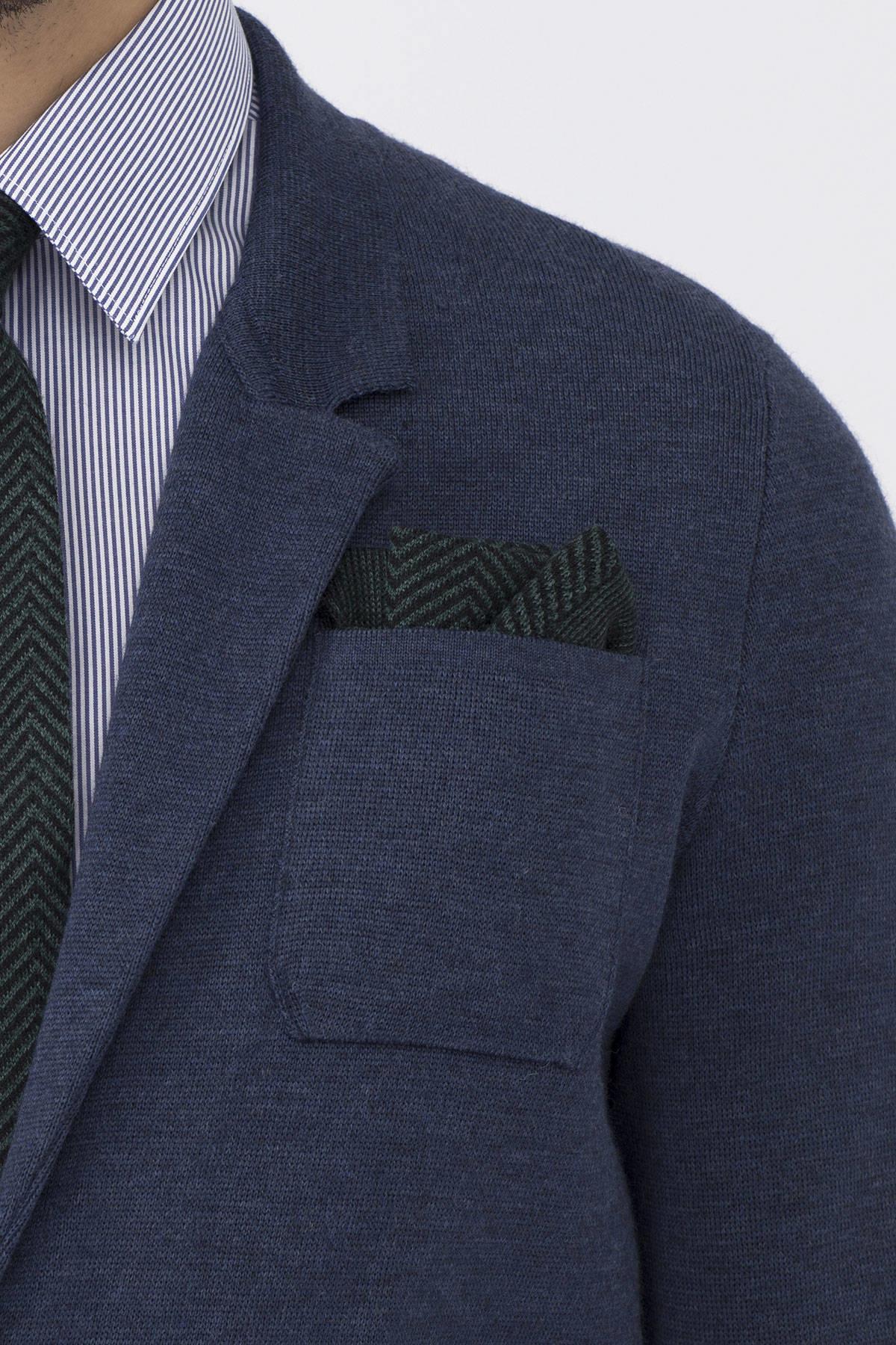İpek Yün Koyu Yeşil Örgü Ceket Mendili