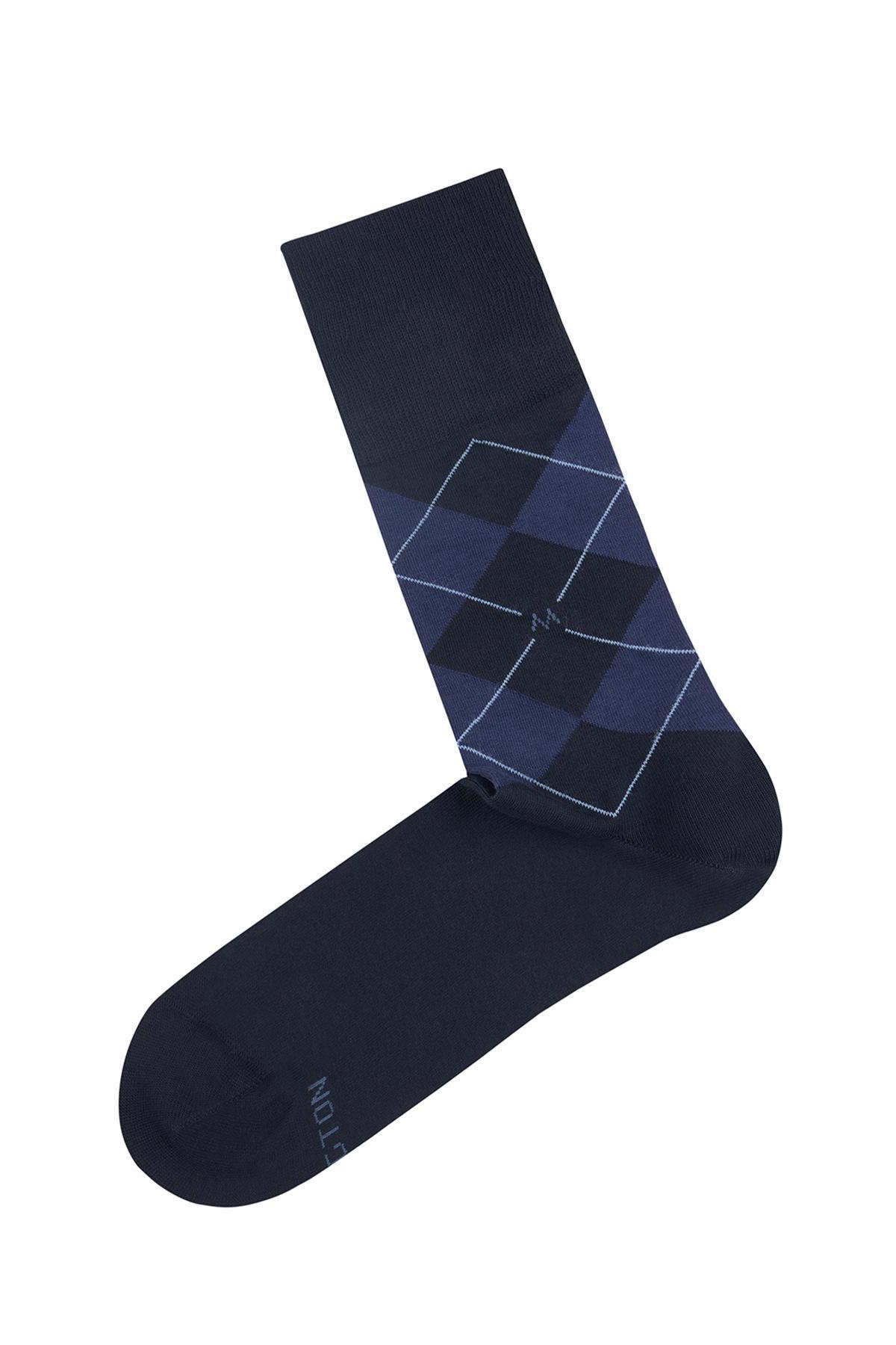 Lacivert Baklava Desenli Pamuk Çorap