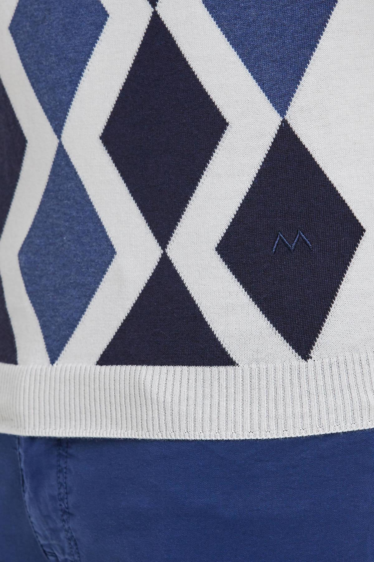 Lacivert Beyaz Baklava Desenli Triko Polo