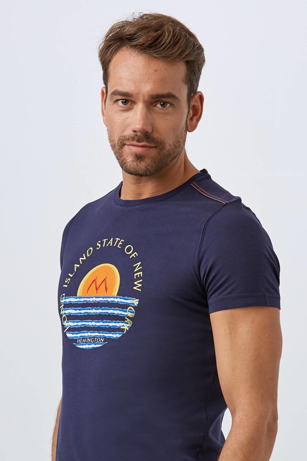 Lacivert Desenli Bisiklet Yaka T-Shirt