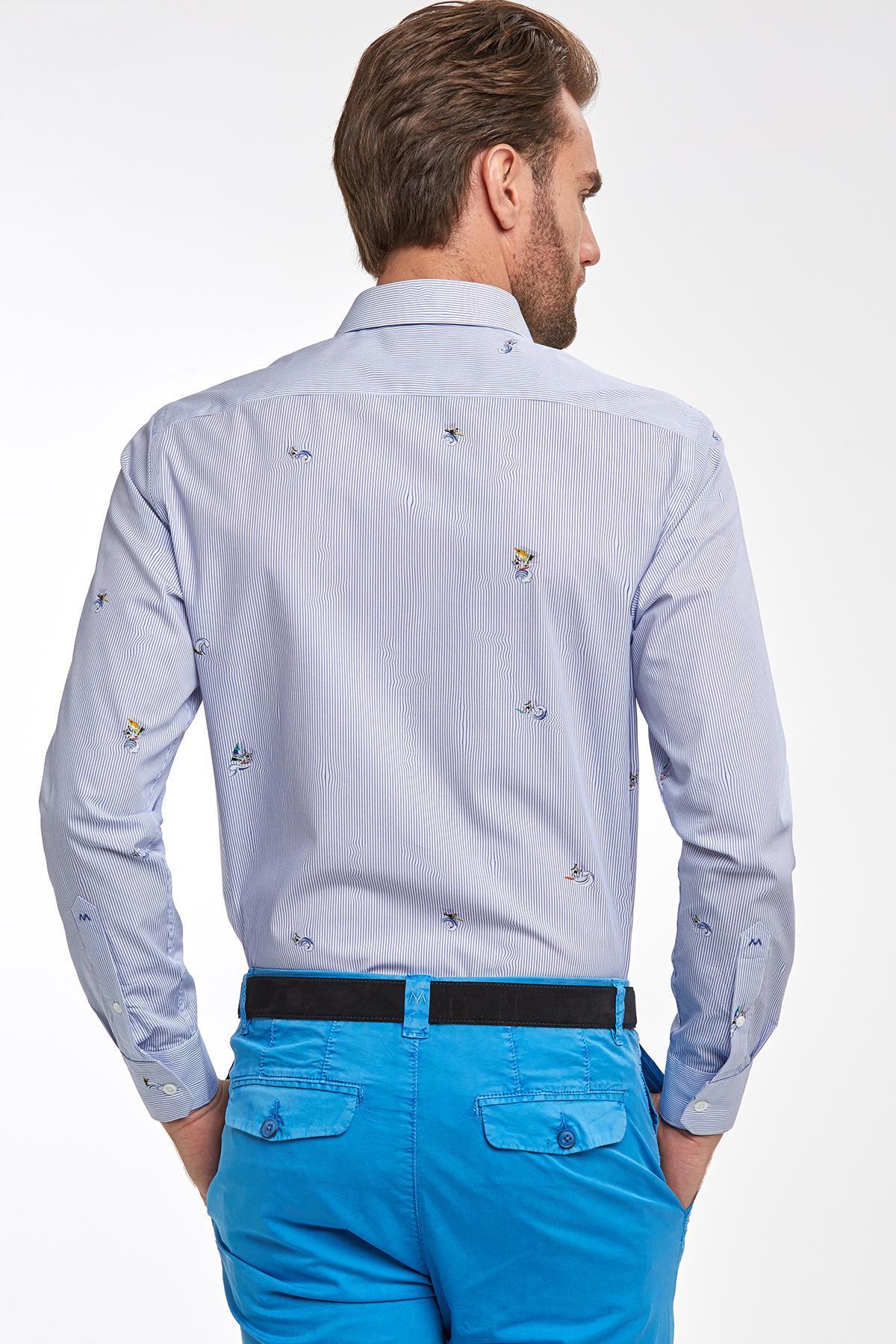 Lacivert Desenli Yazlık Pamuk Gömlek