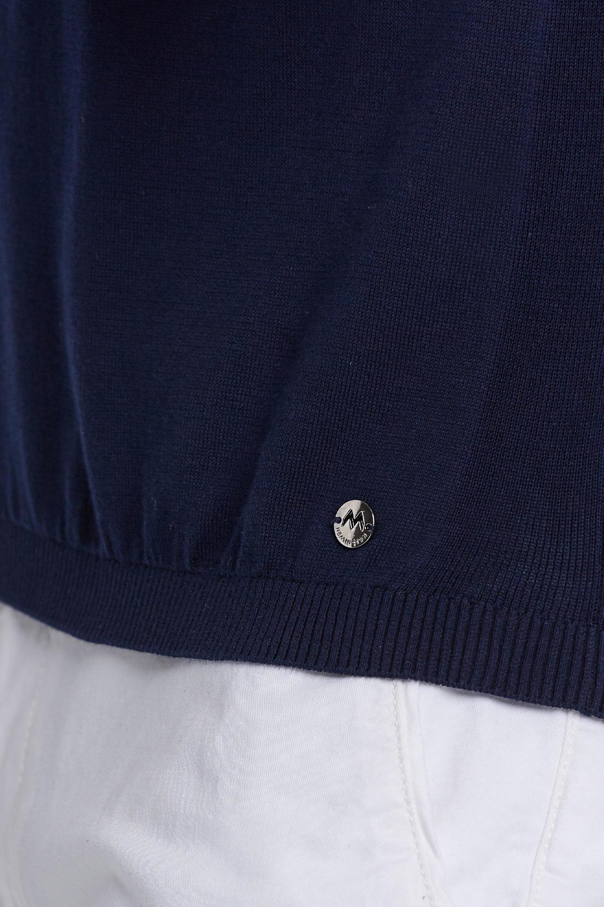 Lacivert Fermuarlı Giza Pamuk Triko Polo