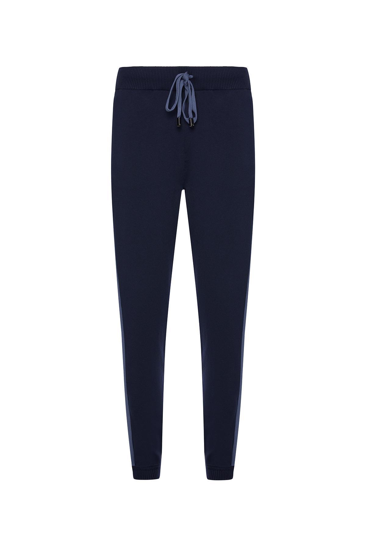 Lacivert Giza Pamuk Triko Spor Pantolon