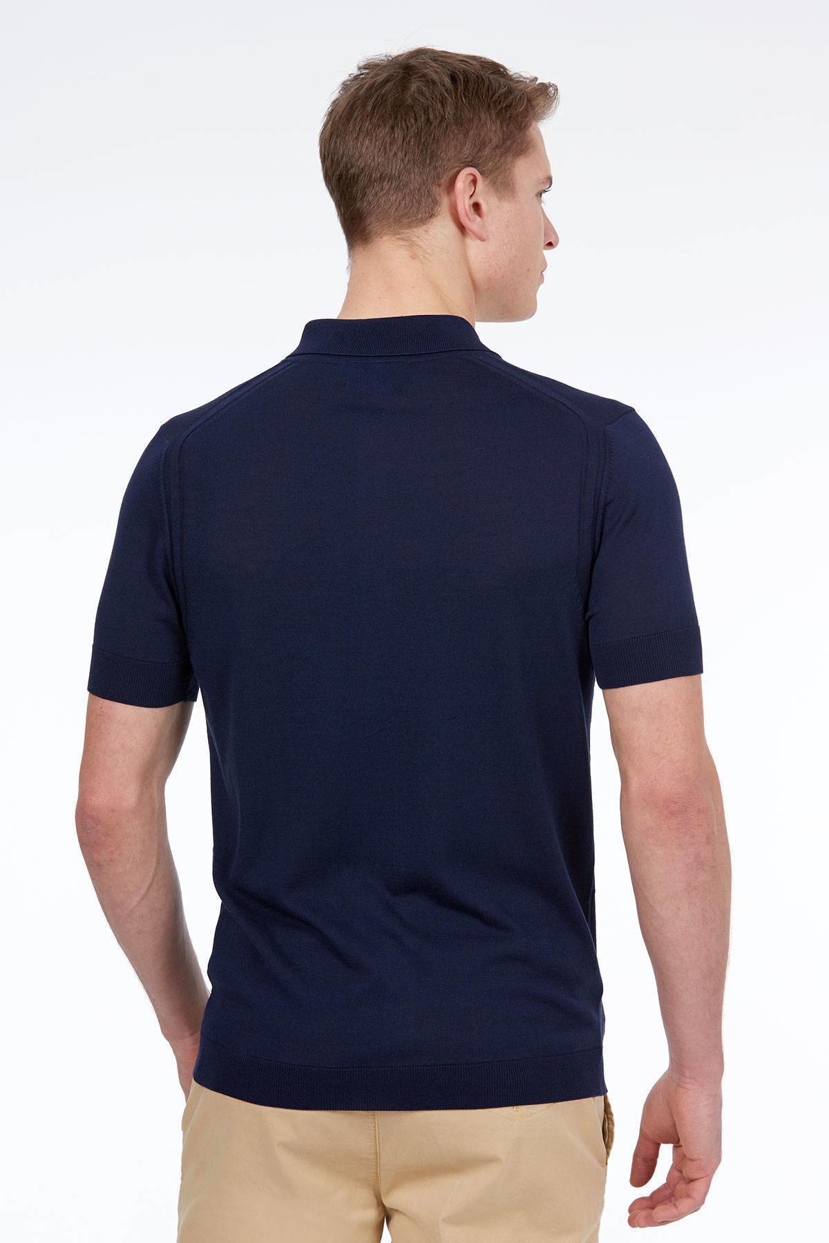 Lacivert İpek Triko Gömlek T-Shirt