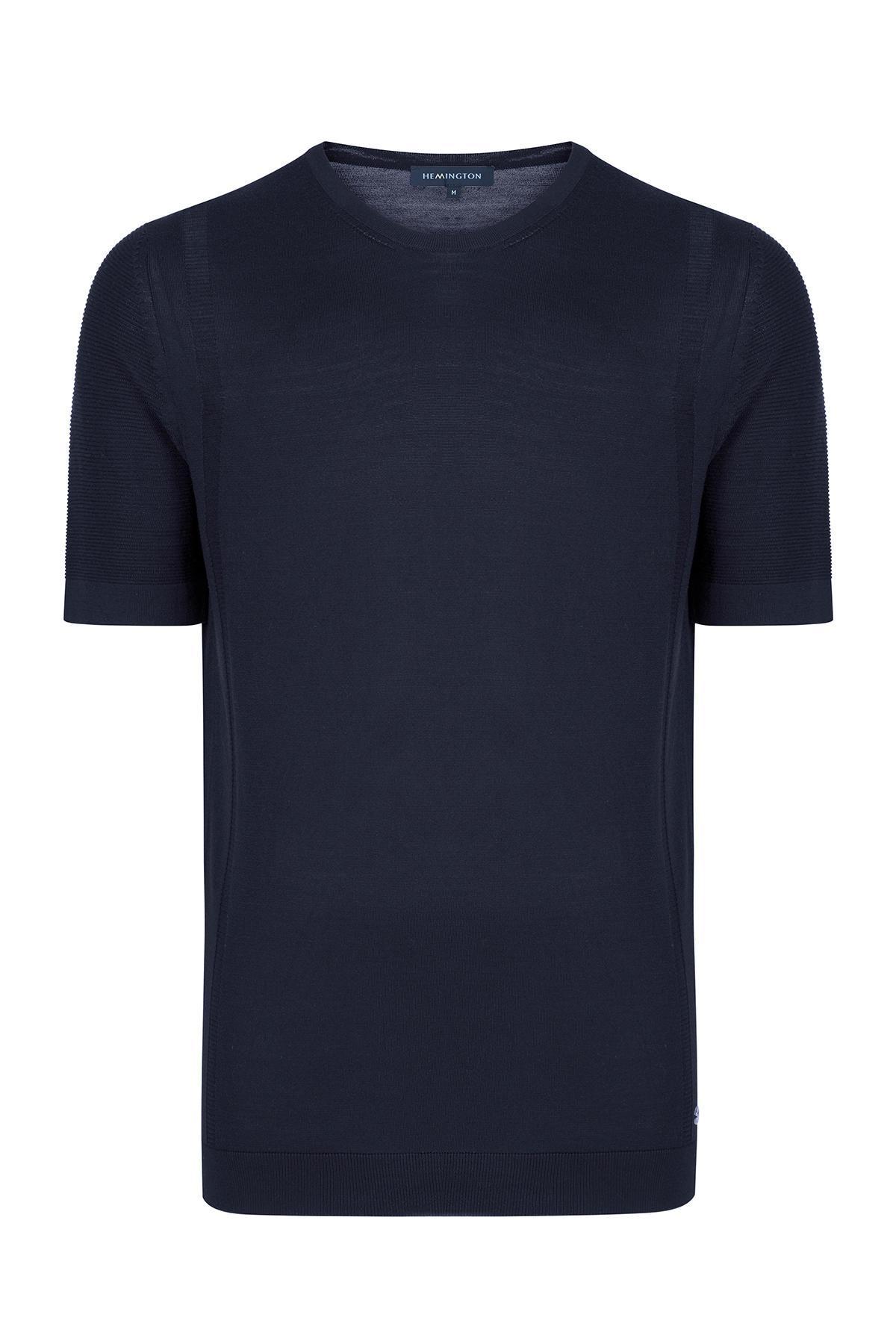 Lacivert İpek Triko T-Shirt
