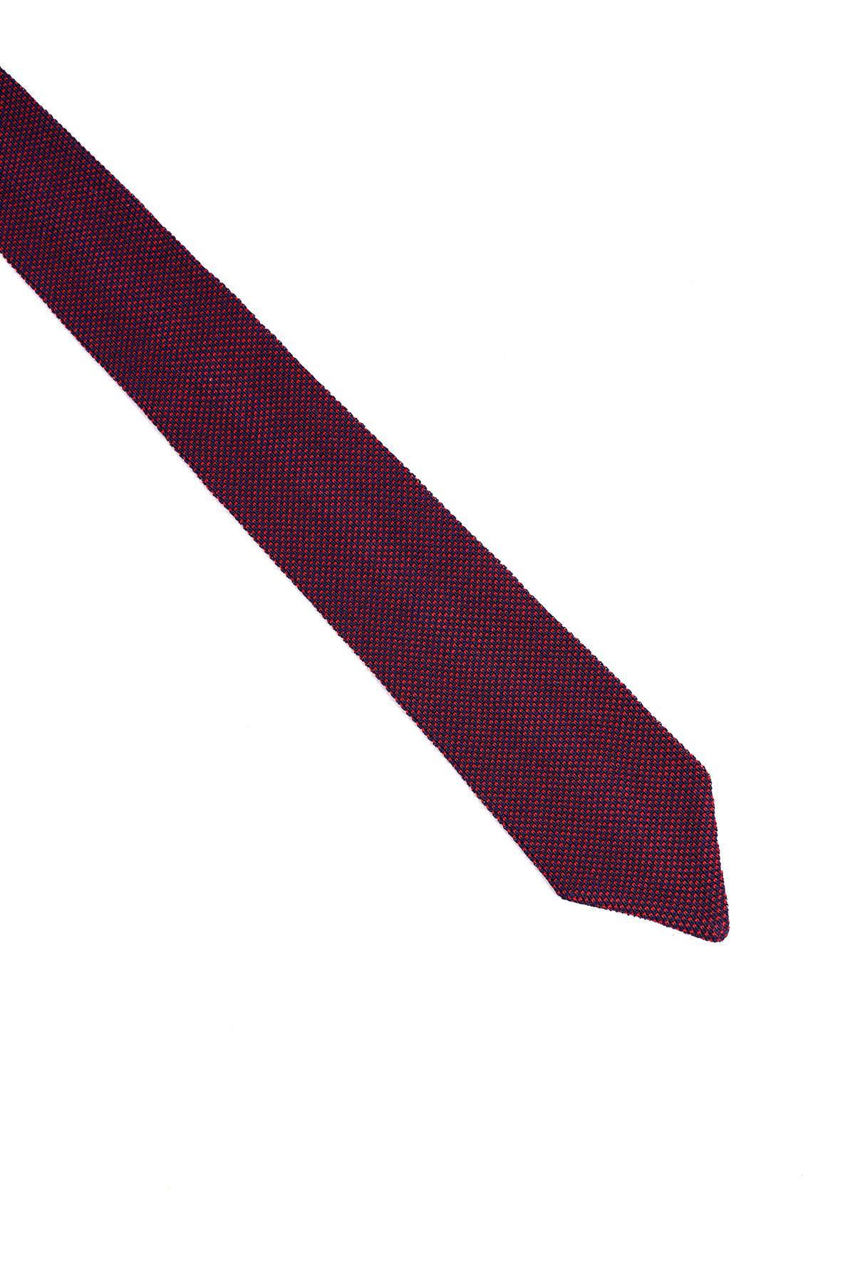 Lacivert Kırmızı Mikro Desen Örgü Kravat
