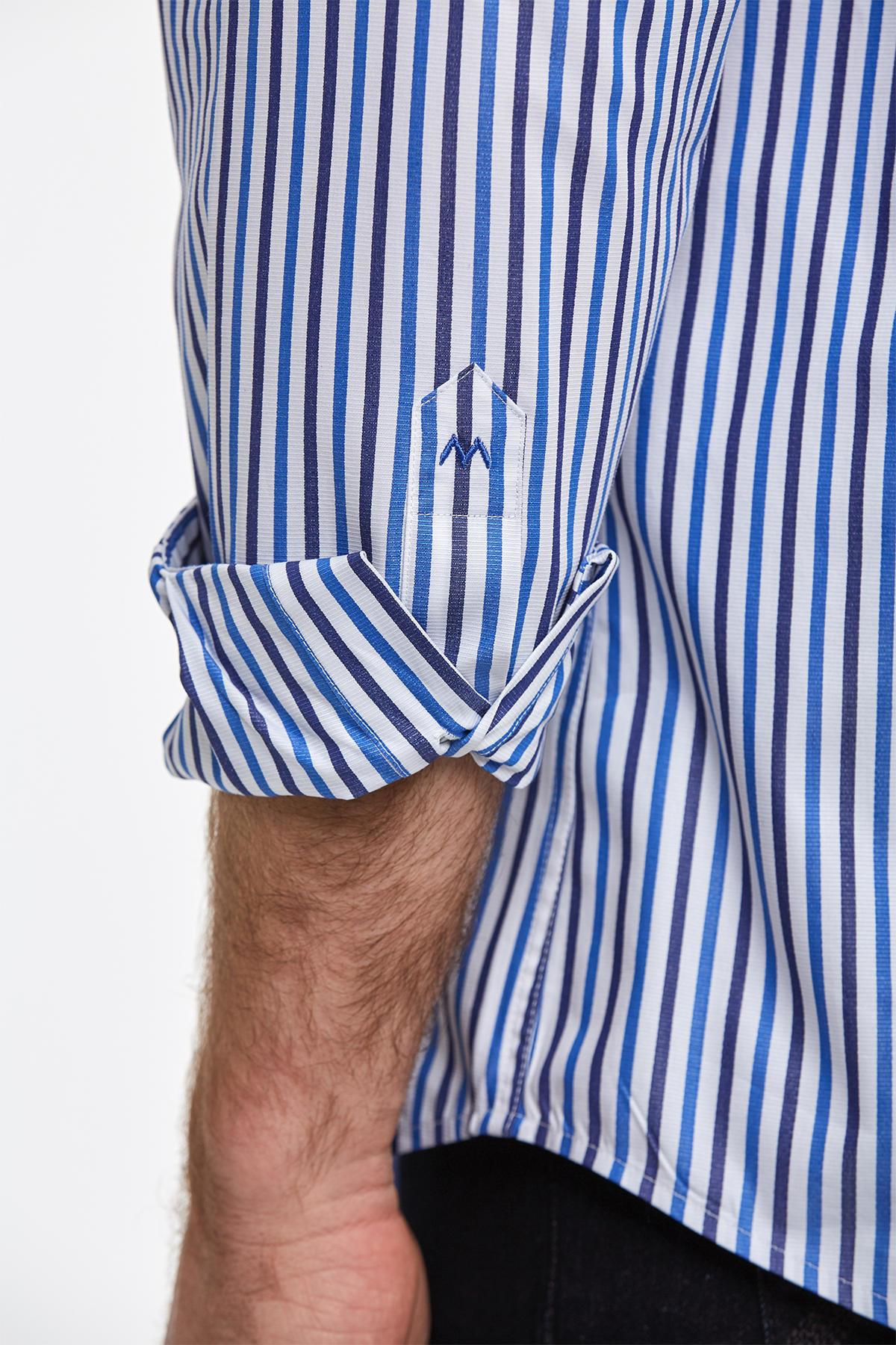 Lacivert Mavi Çizgili Pamuk Spor Gömlek