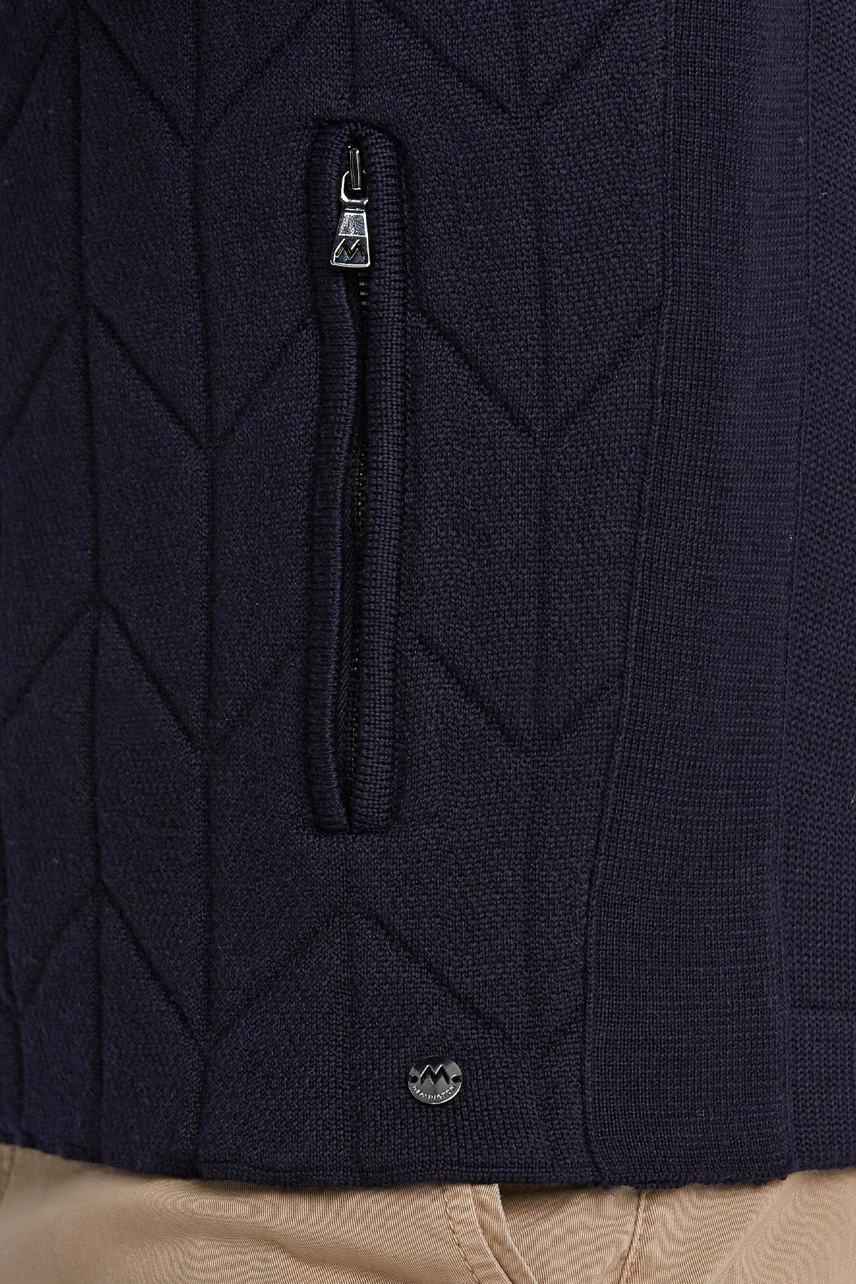 Merino Yün Lacivert Activewear Triko Mont