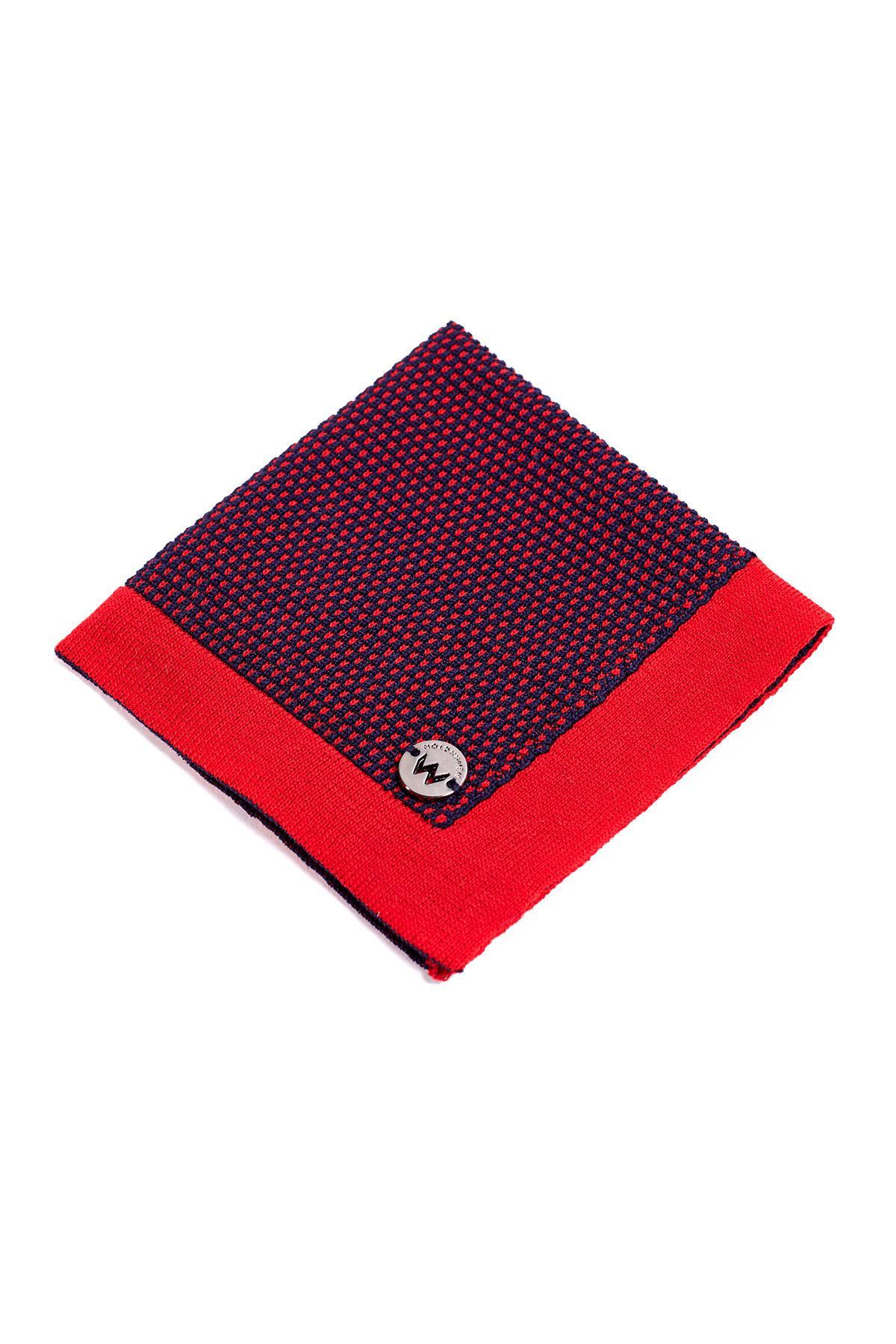 Lacivert Kırmızı Mikro Desen Örgü Mendil
