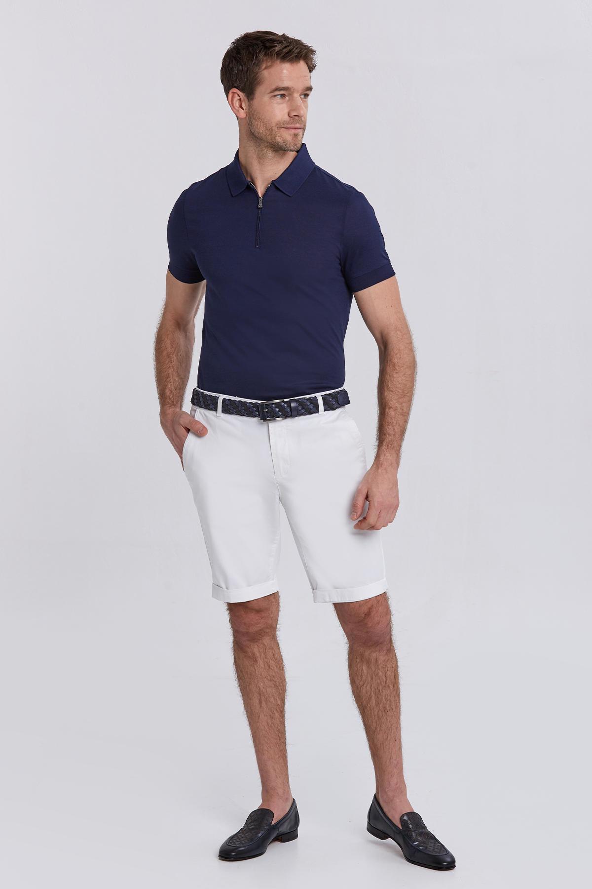 Lacivert Pamuk Fermuarlı Polo Yaka T-shirt