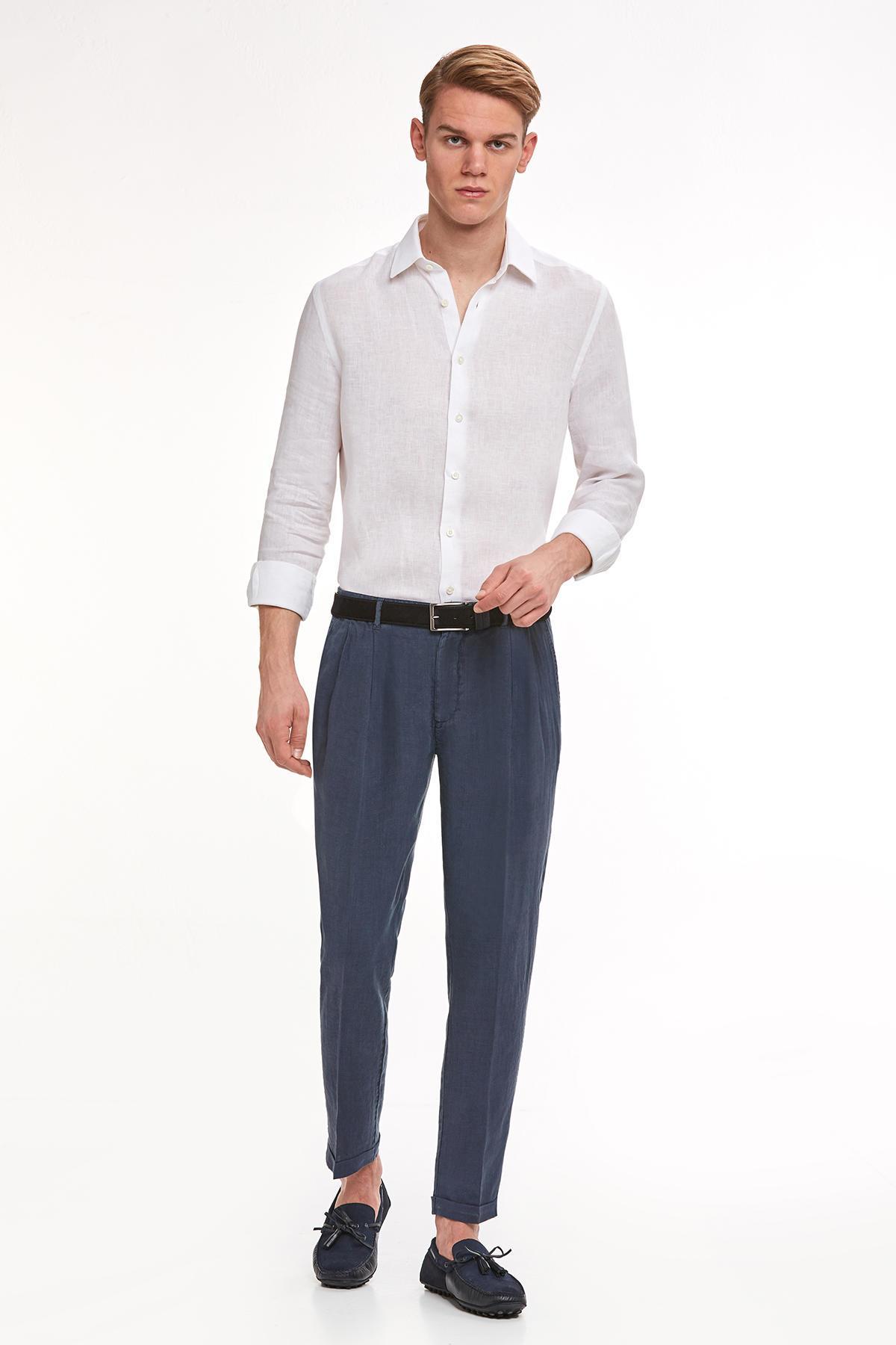 Lacivert Saf Keten Pileli Pantolon
