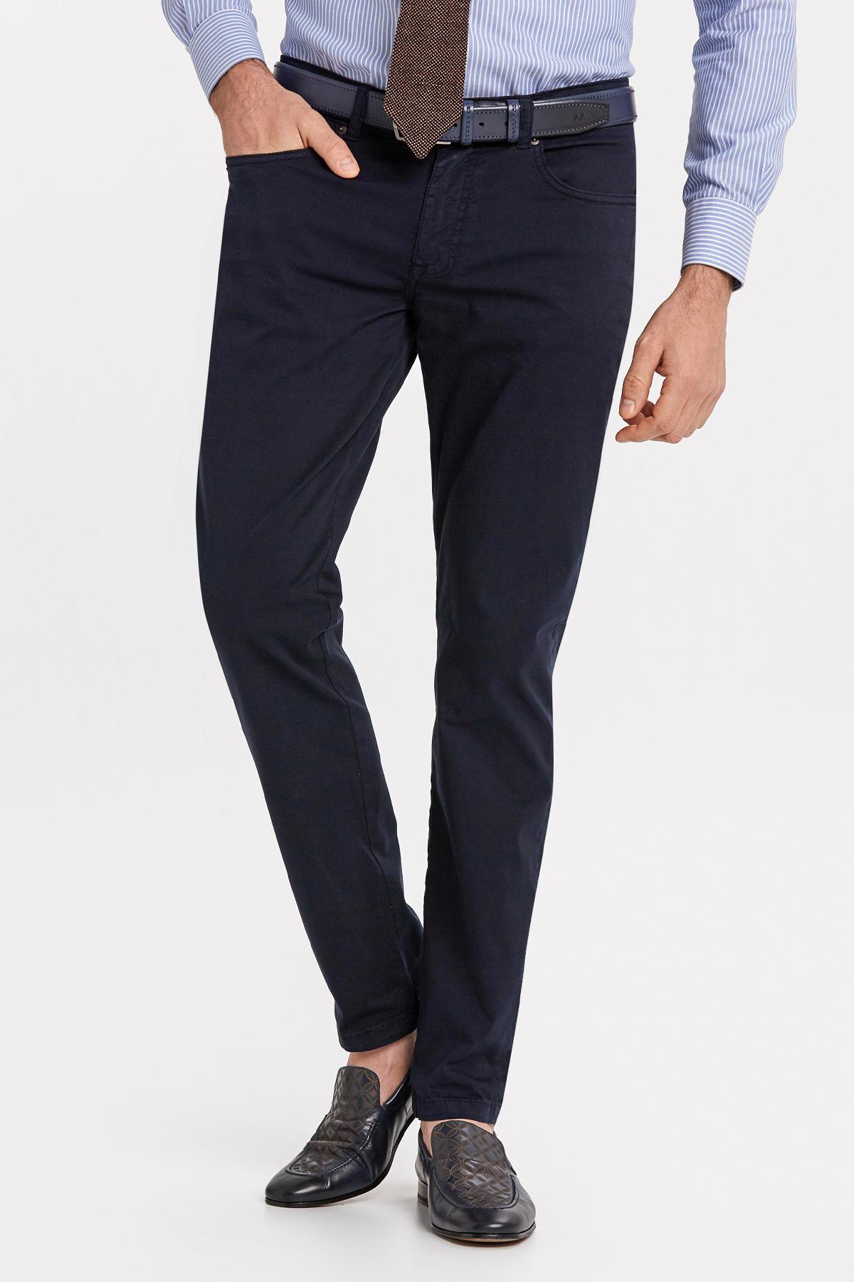Slim Fit 5 Cep Lacivert Yazlık Pantolon