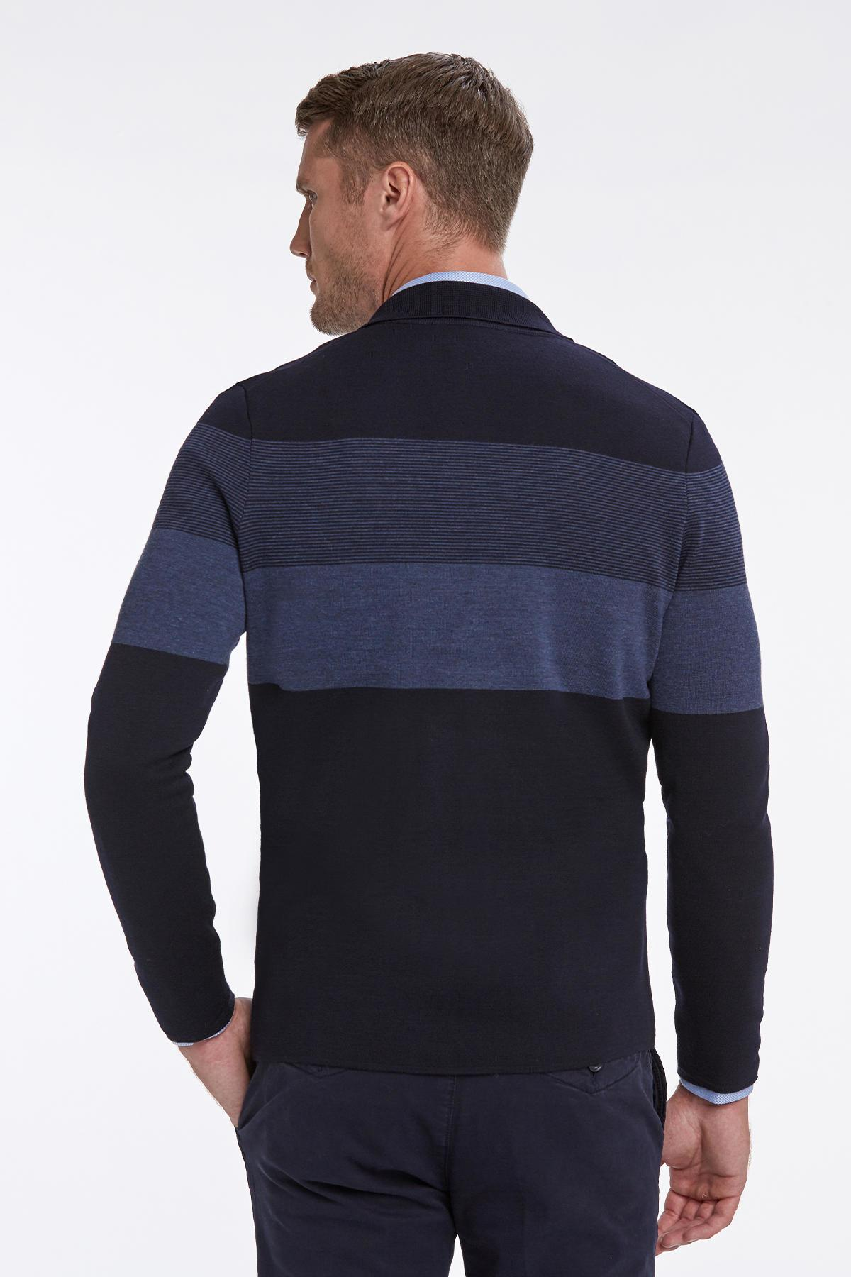 Extrafine Merino Slim Fit Lacivert Triko Ceket