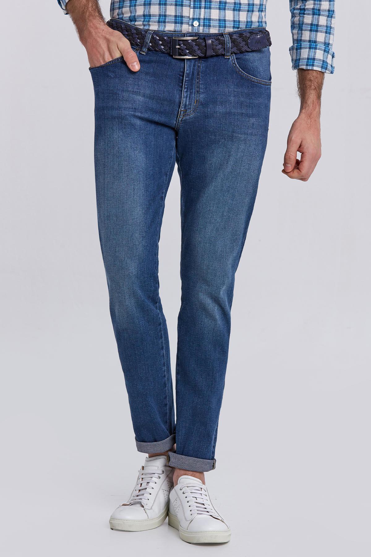 Lacivert Slim Fit Taşlanmış Denim Pantolon