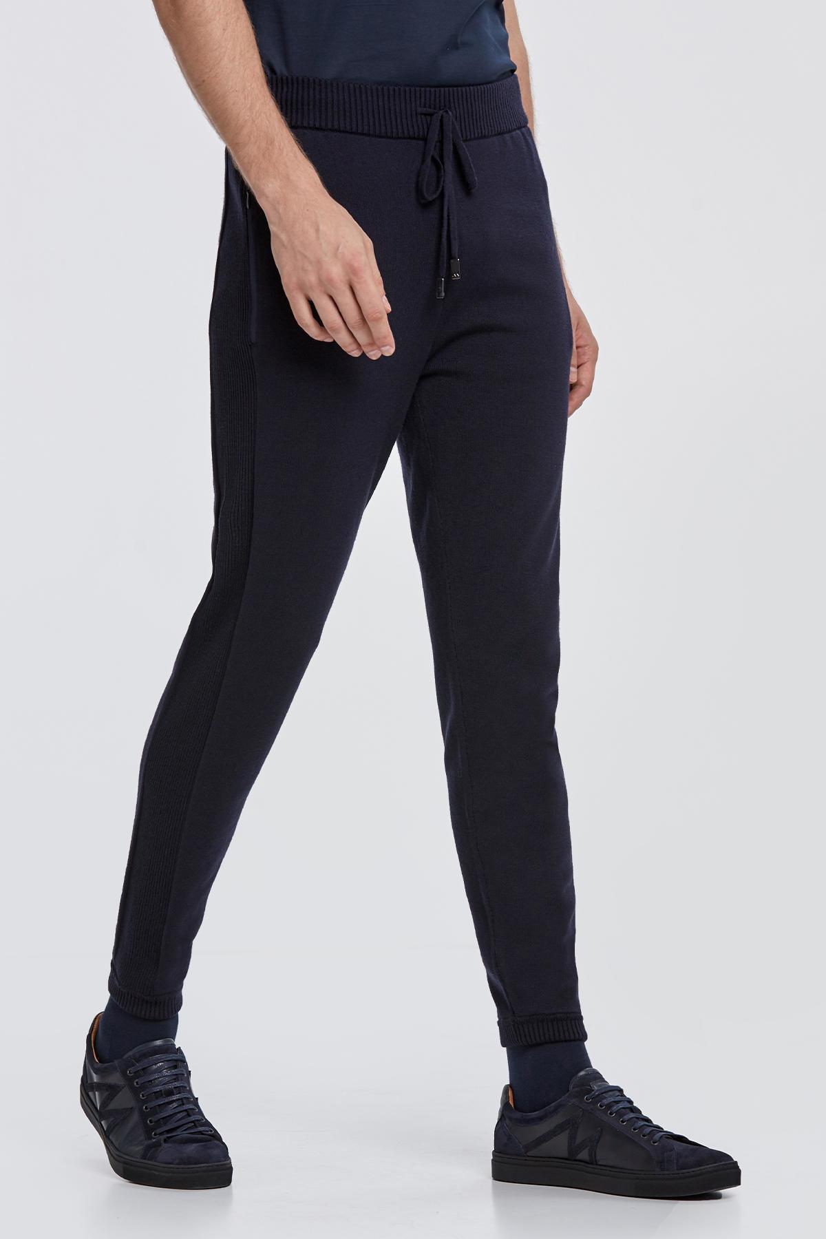 Merino Yün Lacivert Activewear Triko Pantolon