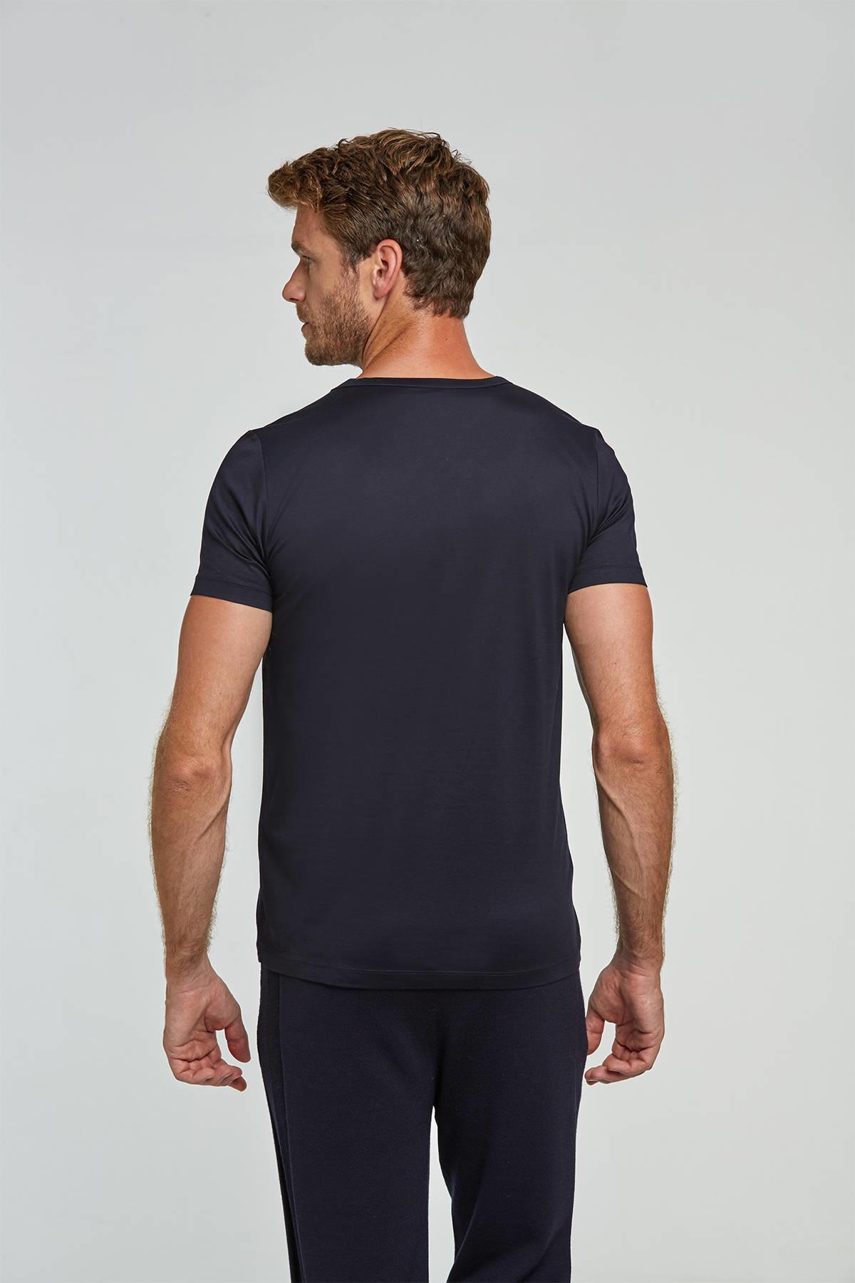 V Yaka Lacivert Basic T-Shirt