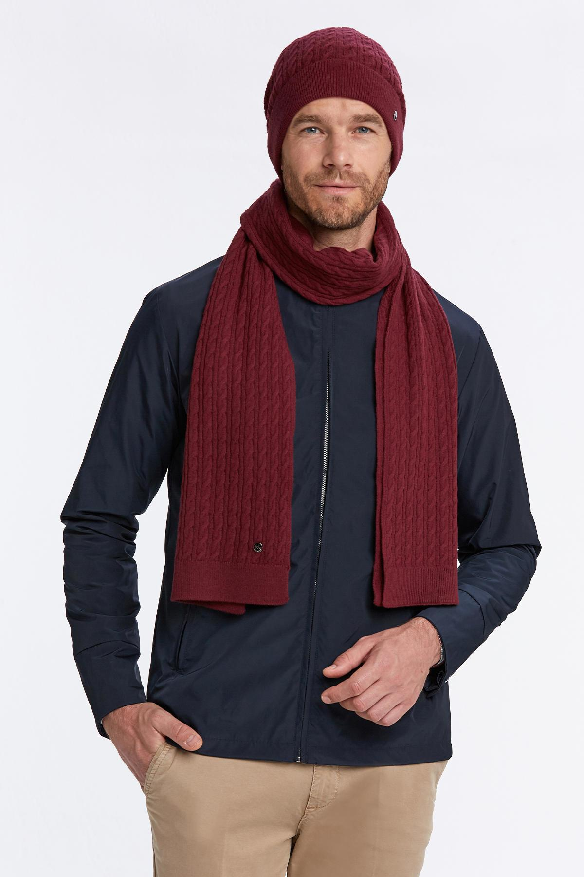 Lambswool Yün Bordo Atkı