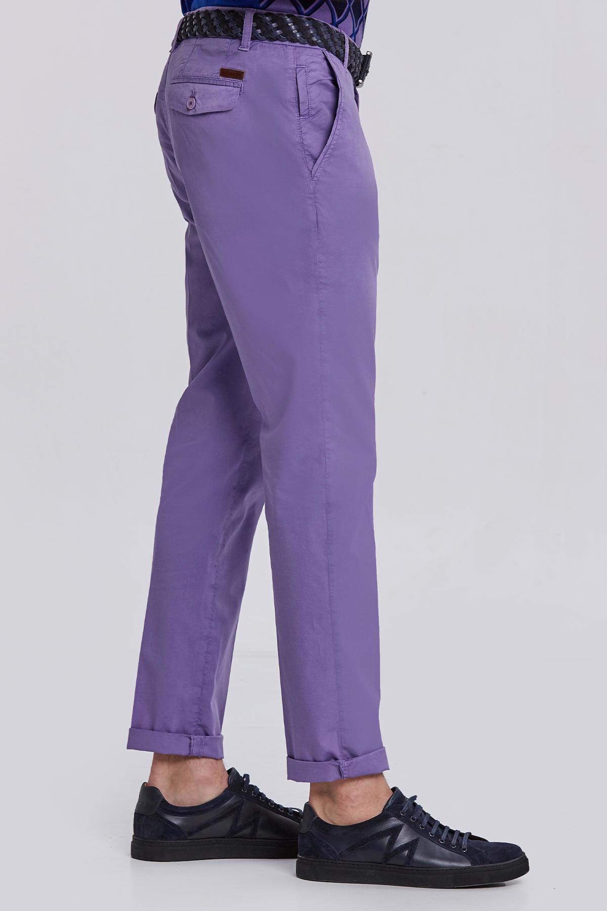 Lila Pamuk Yazlık Chino Pantolon