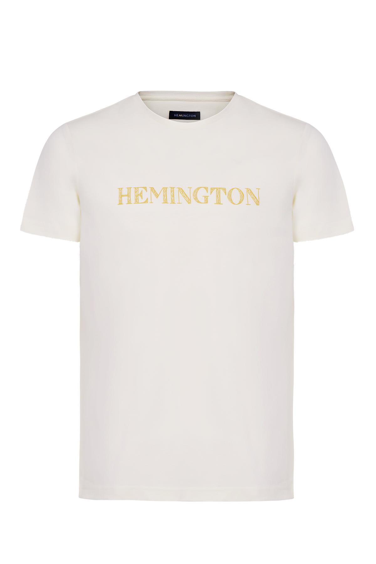 Logolu Bisiklet Yaka Kırık Beyaz T-Shirt