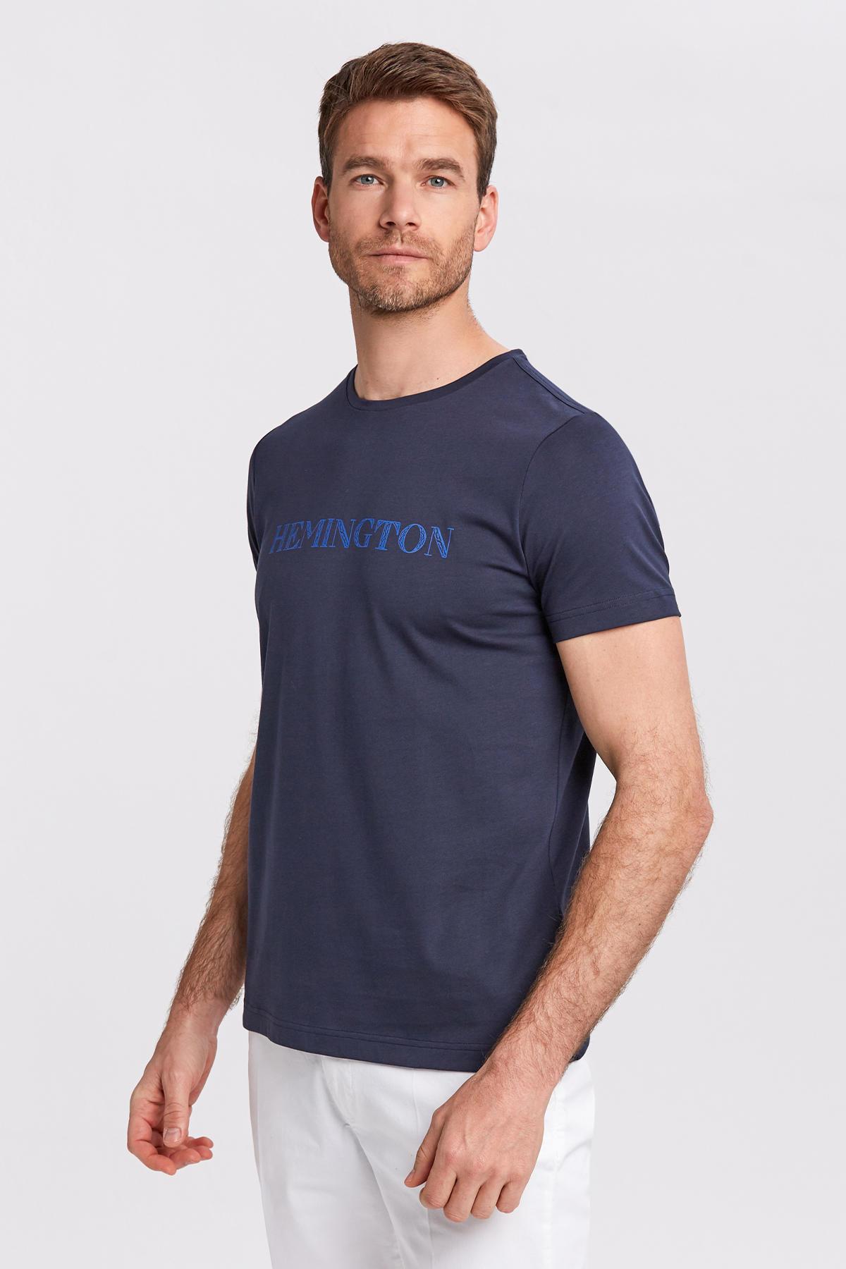 Logolu Bisiklet Yaka Lacivert T-Shirt