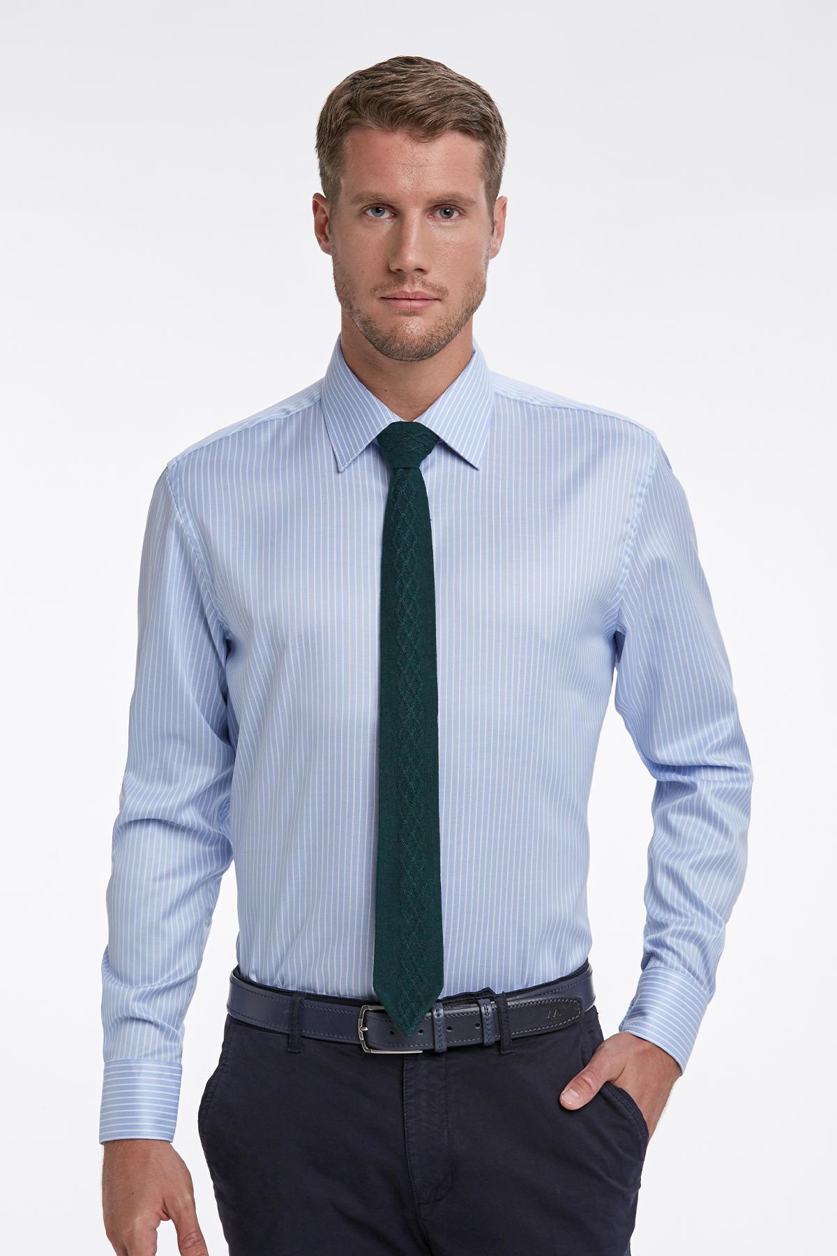 Mavi Beyaz Çizgili Non-Iron Business Gömlek