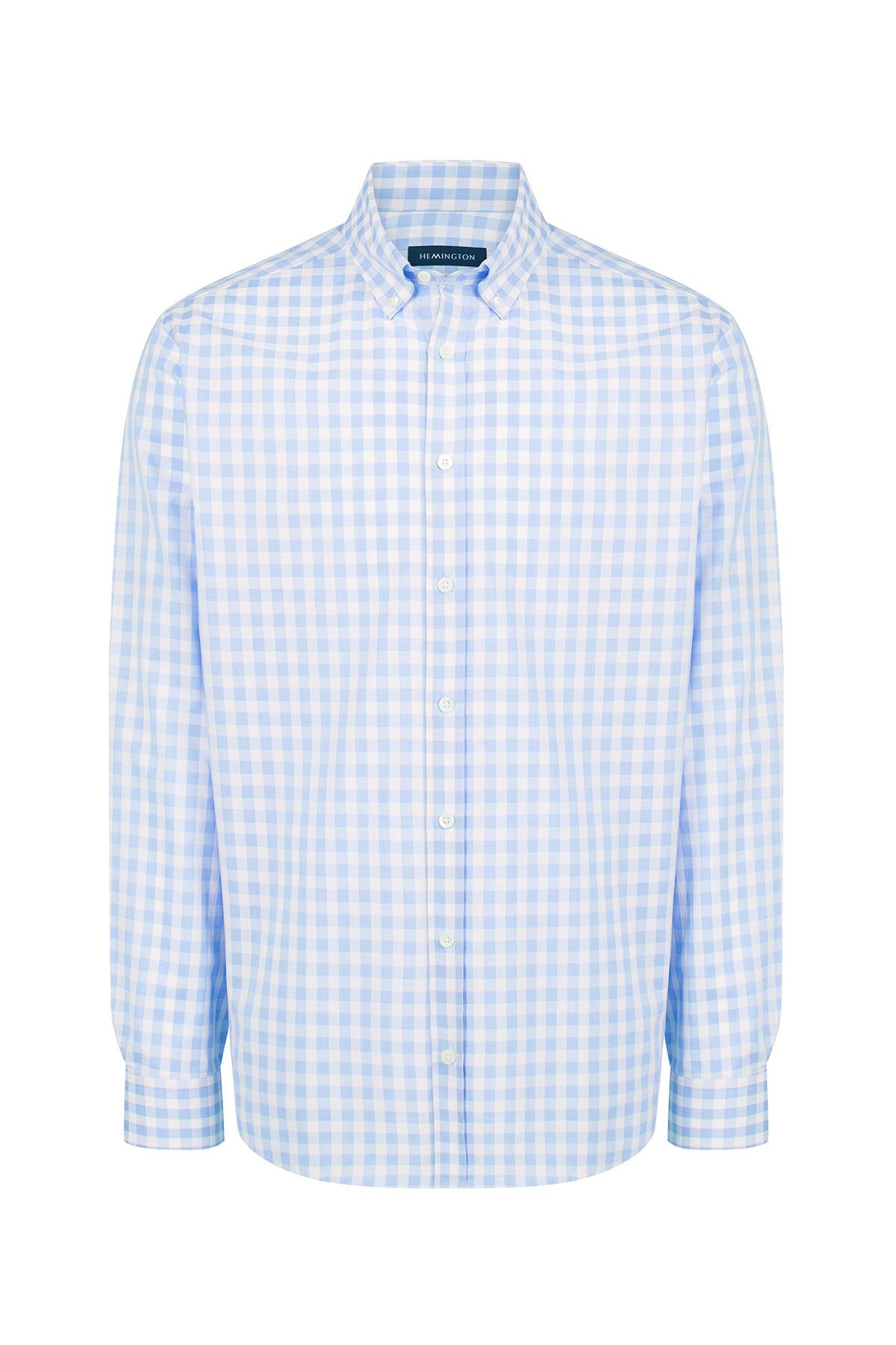 Mavi Beyaz Kareli Spor Superfine Pamuk Gömlek