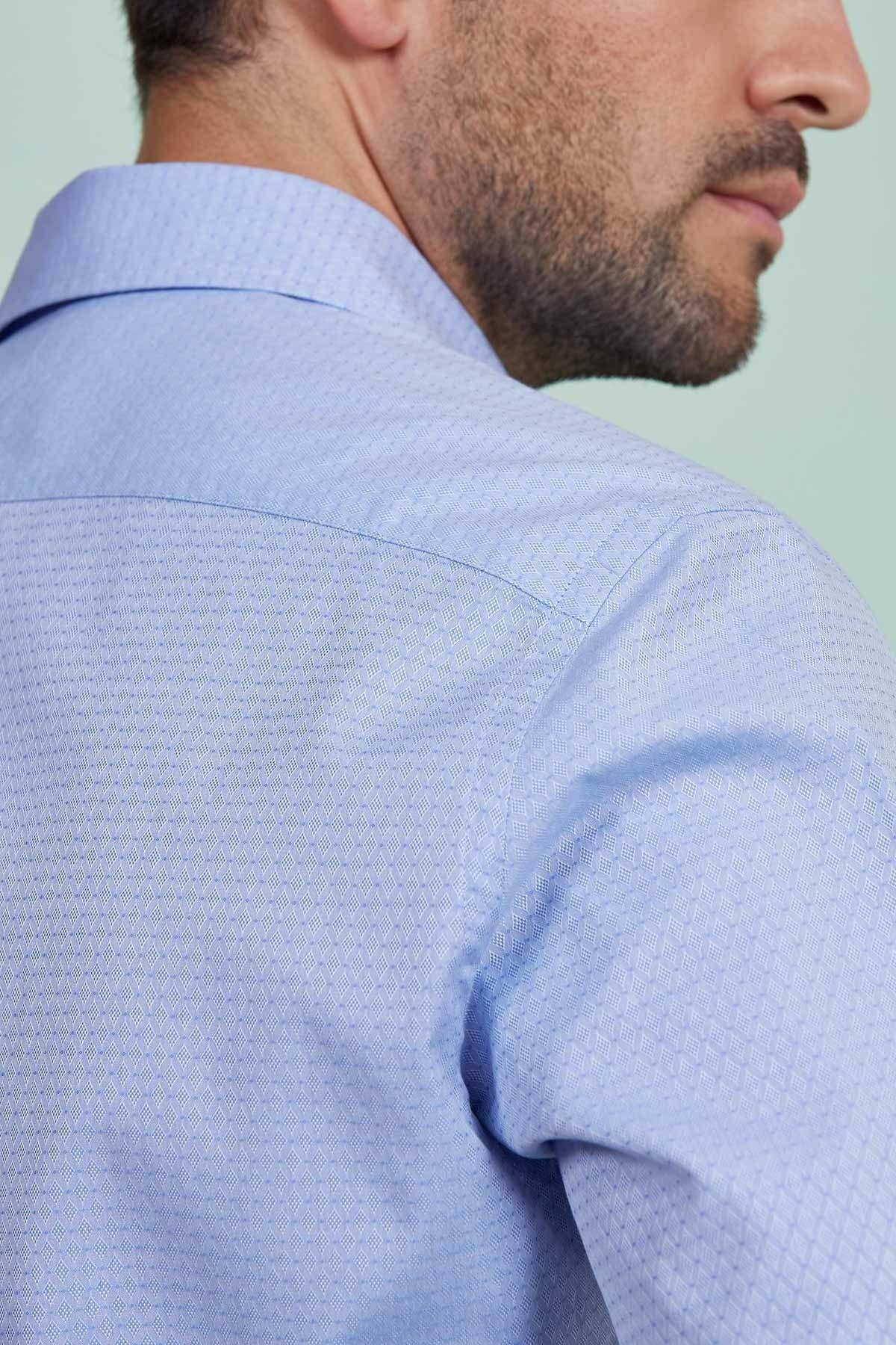 Mavi Desenli Business Gömlek