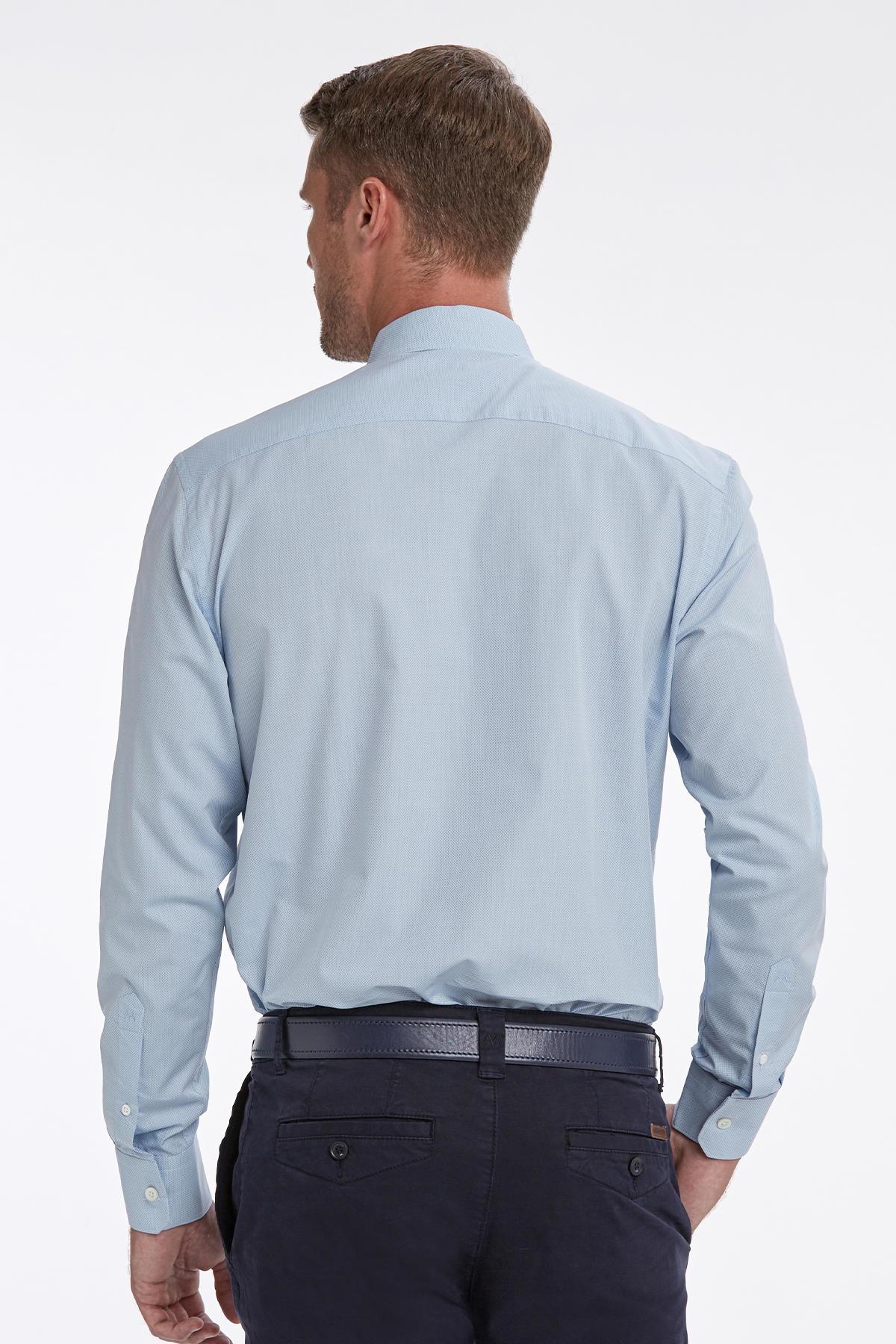 Mavi Dokulu Business Gömlek