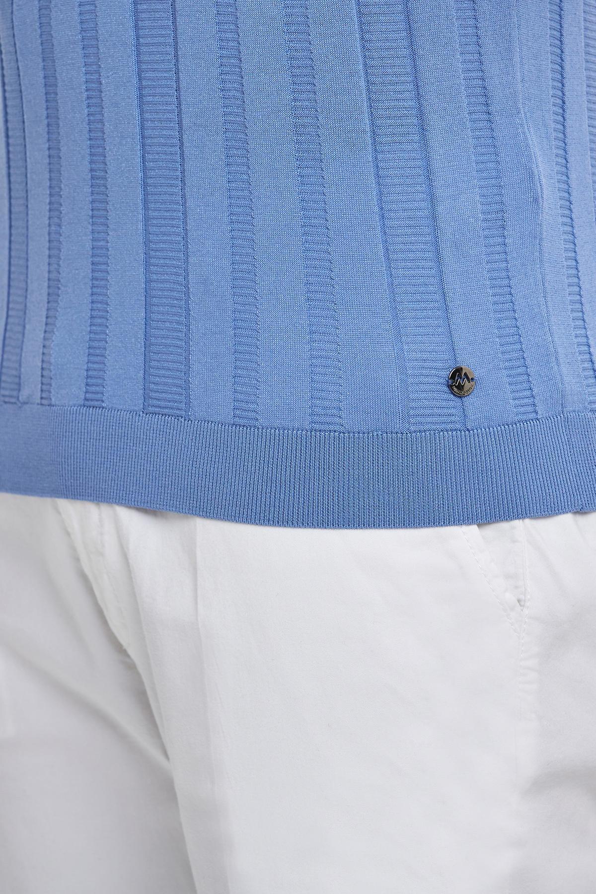 Mavi İpek Polo Yaka Yazlık Triko