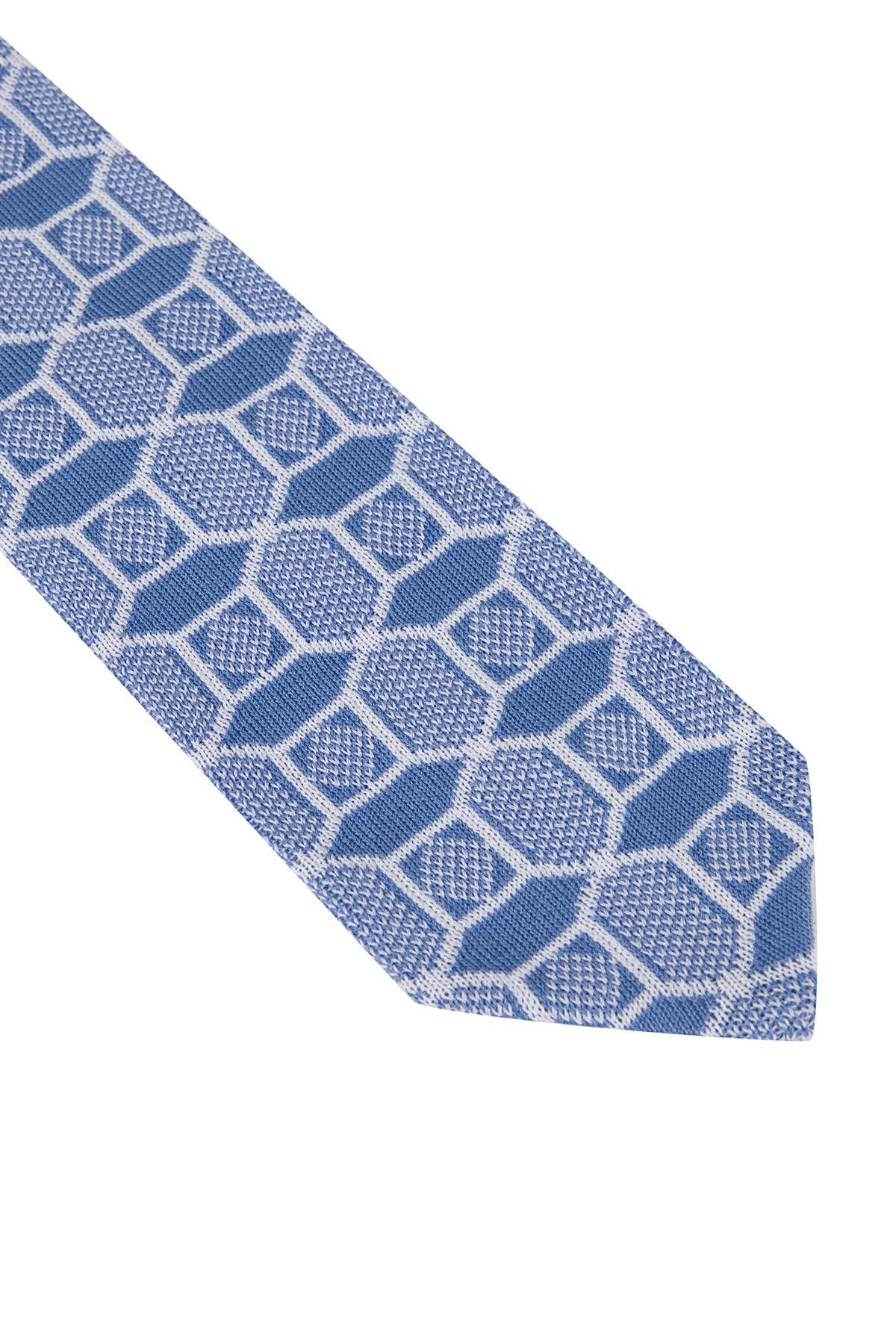 Mavi Karo Desenli Örgü Kravat