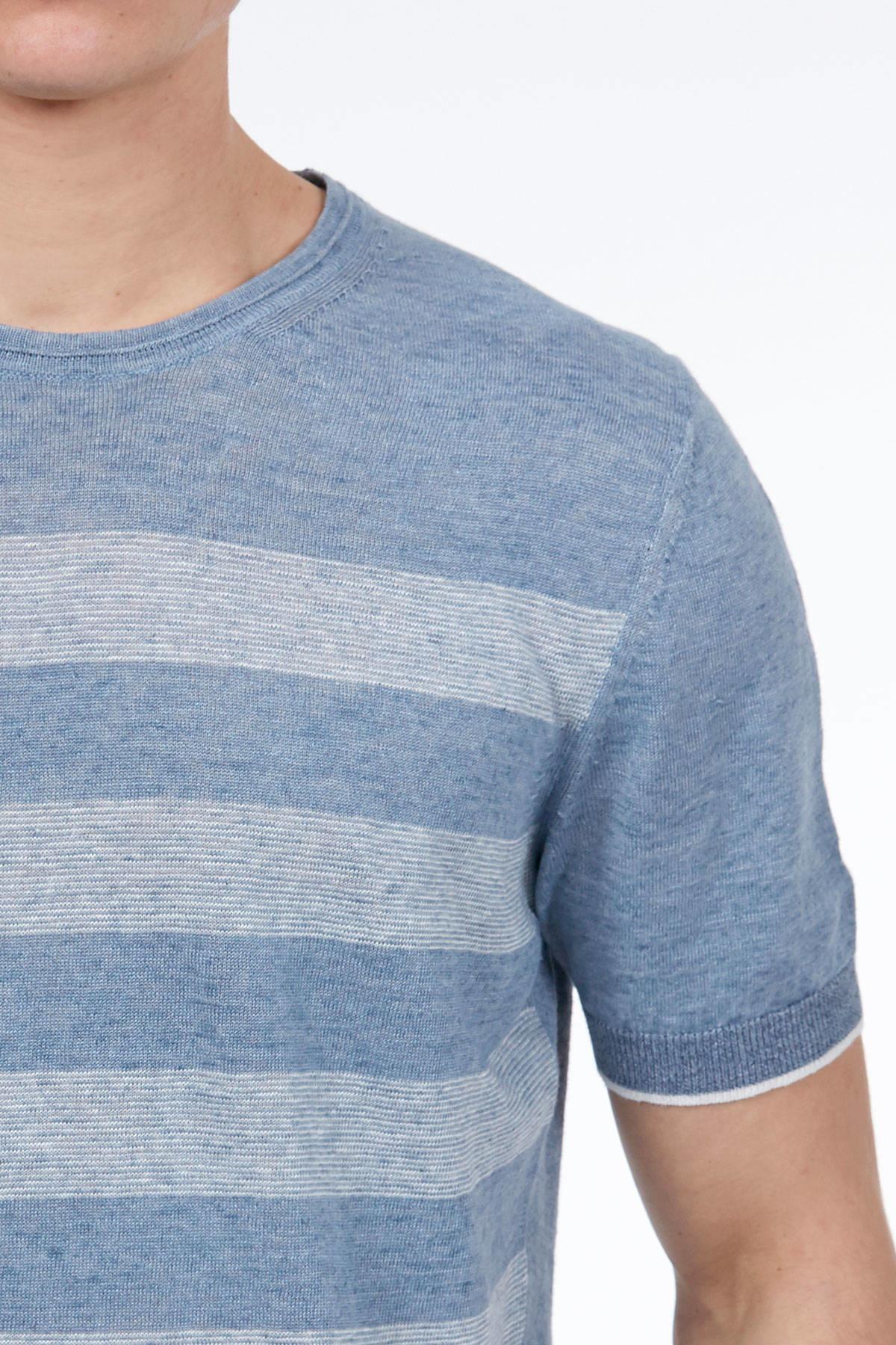 Mavi Keten Triko T-Shirt