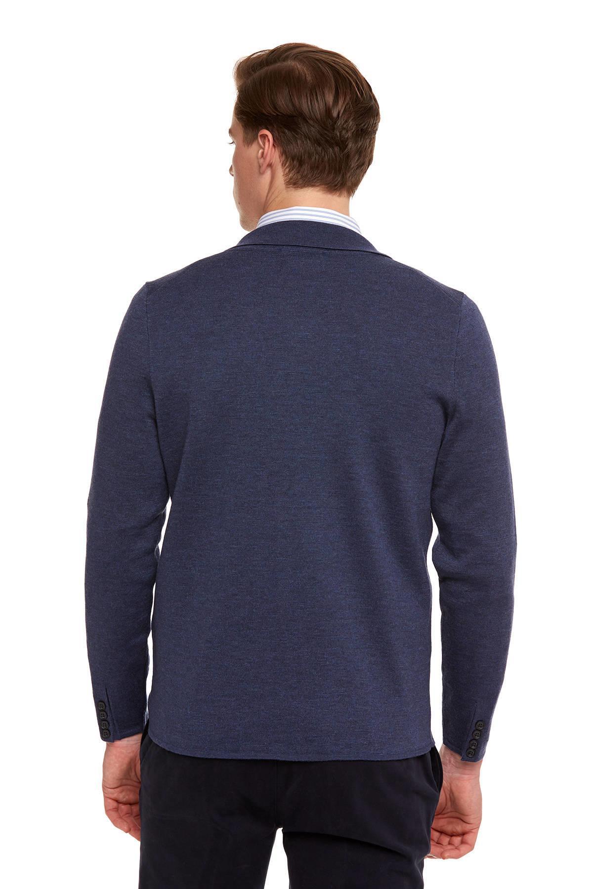 Extrafine Merino Mavi Triko Ceket