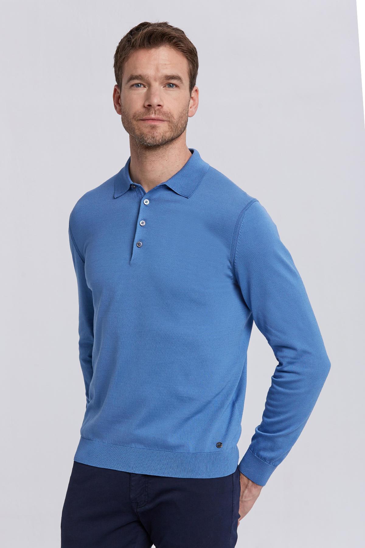Mavi Polo Yaka Uzun Kollu Mevsimlik Triko