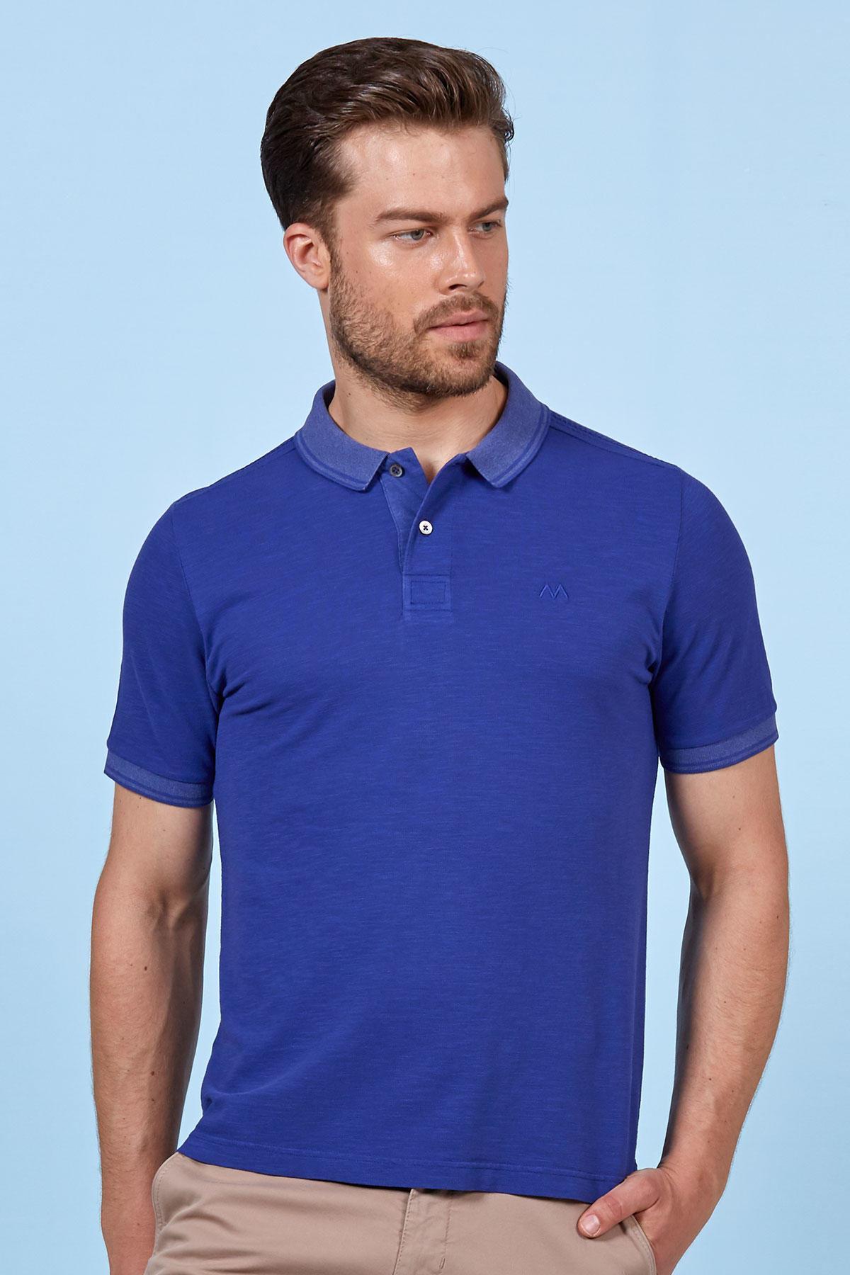 Mavi Polo Yaka Pamuk T-Shirt